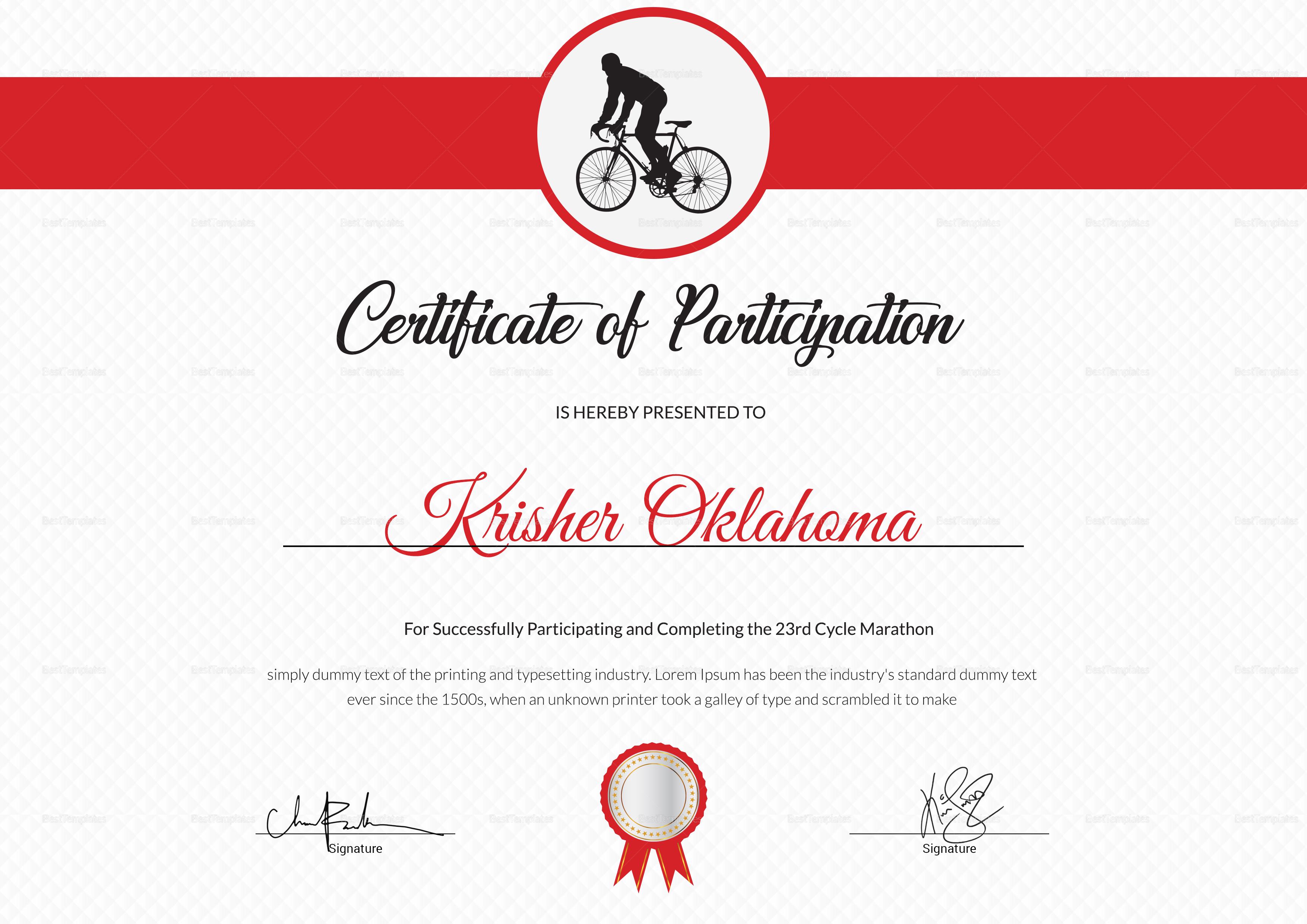 Cycling Participation Certificate Template