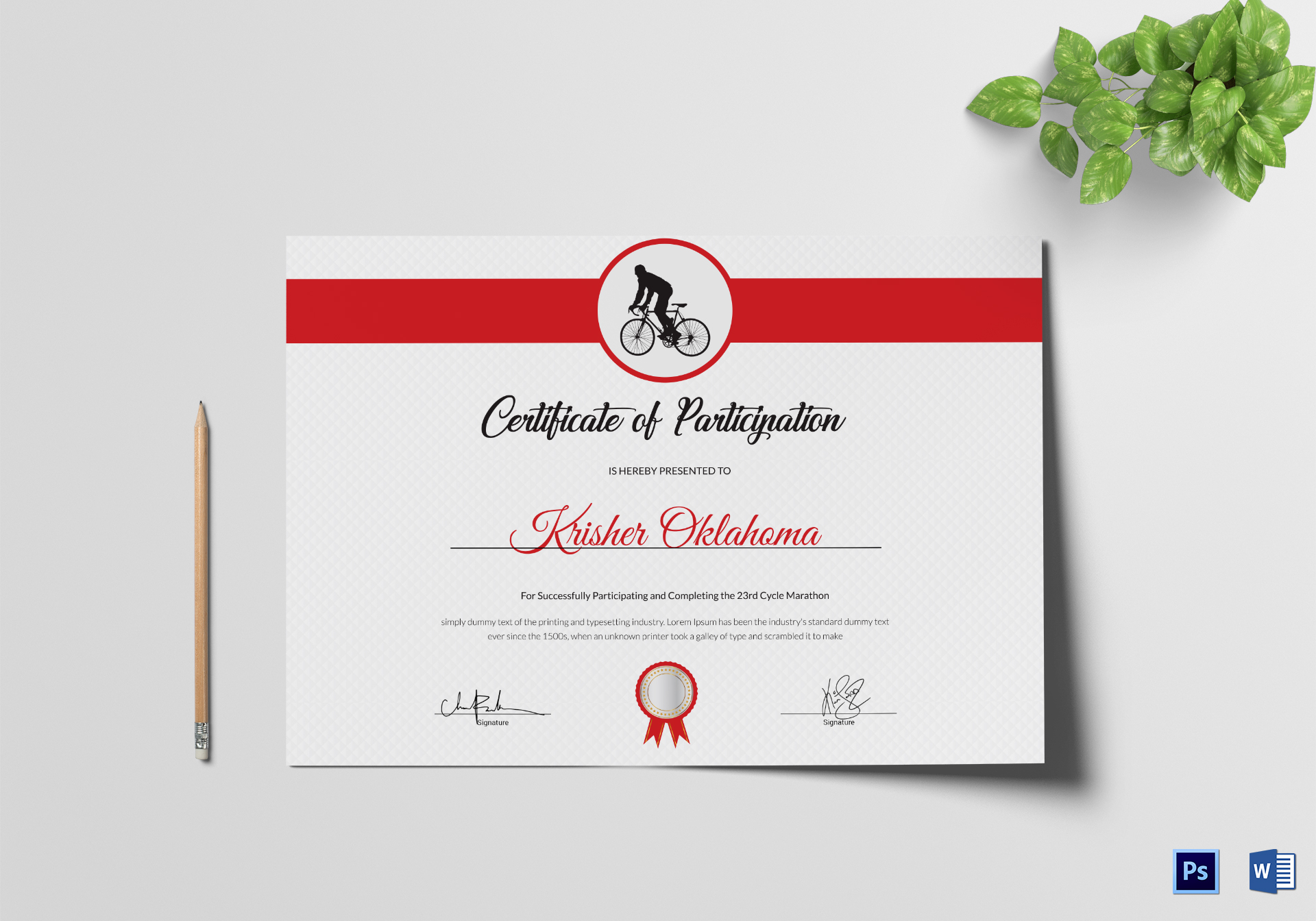 Cycling Participation Certificate Design Template In Psd Word