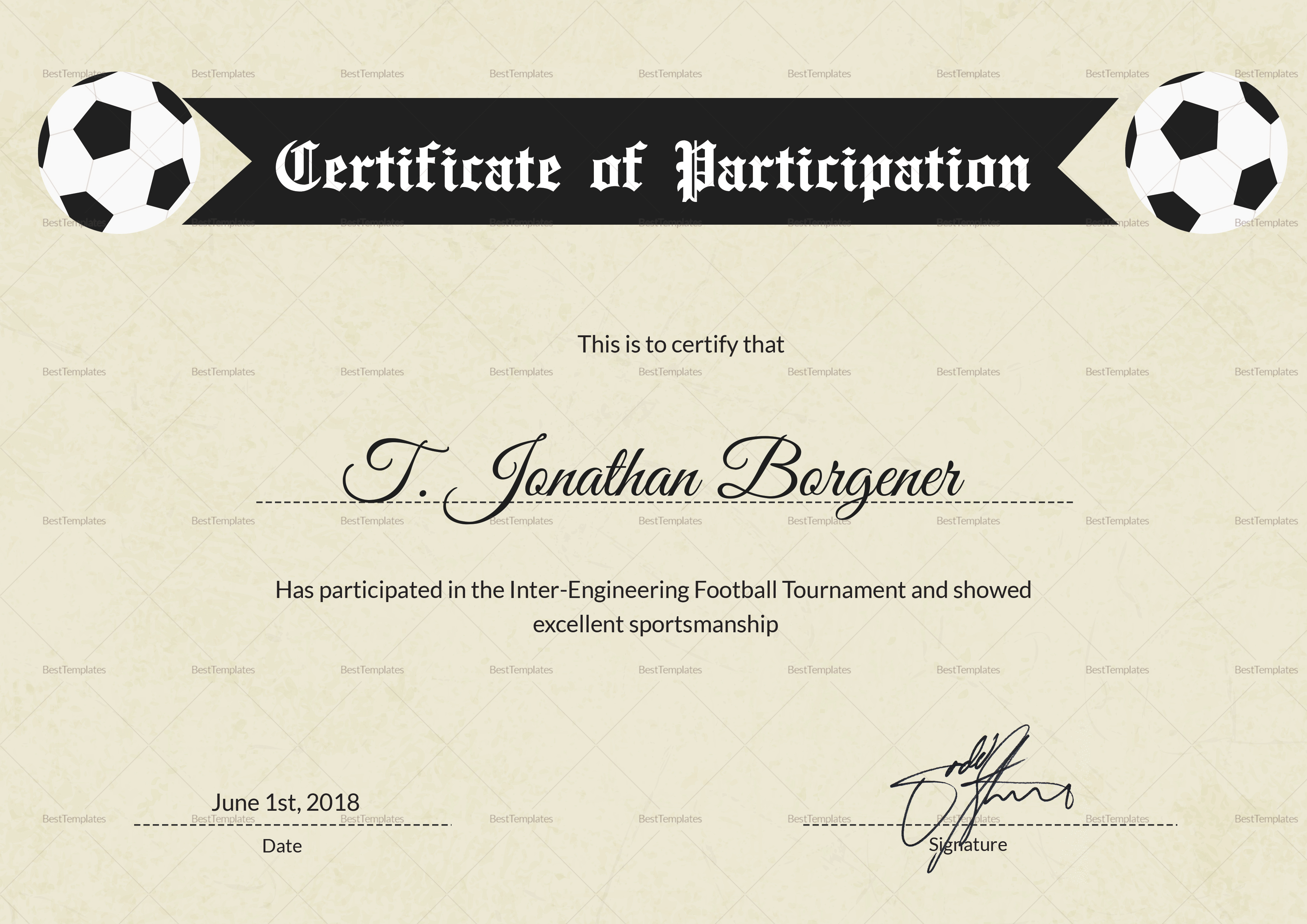 Sports day football certificate design template in psd word for Football certificate templates