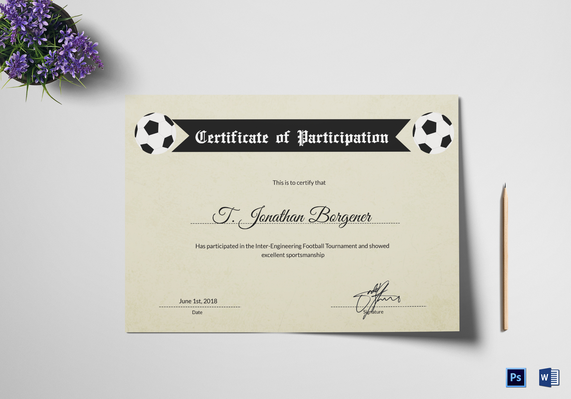 Sports Day Football Certificate Design Template In Psd Word