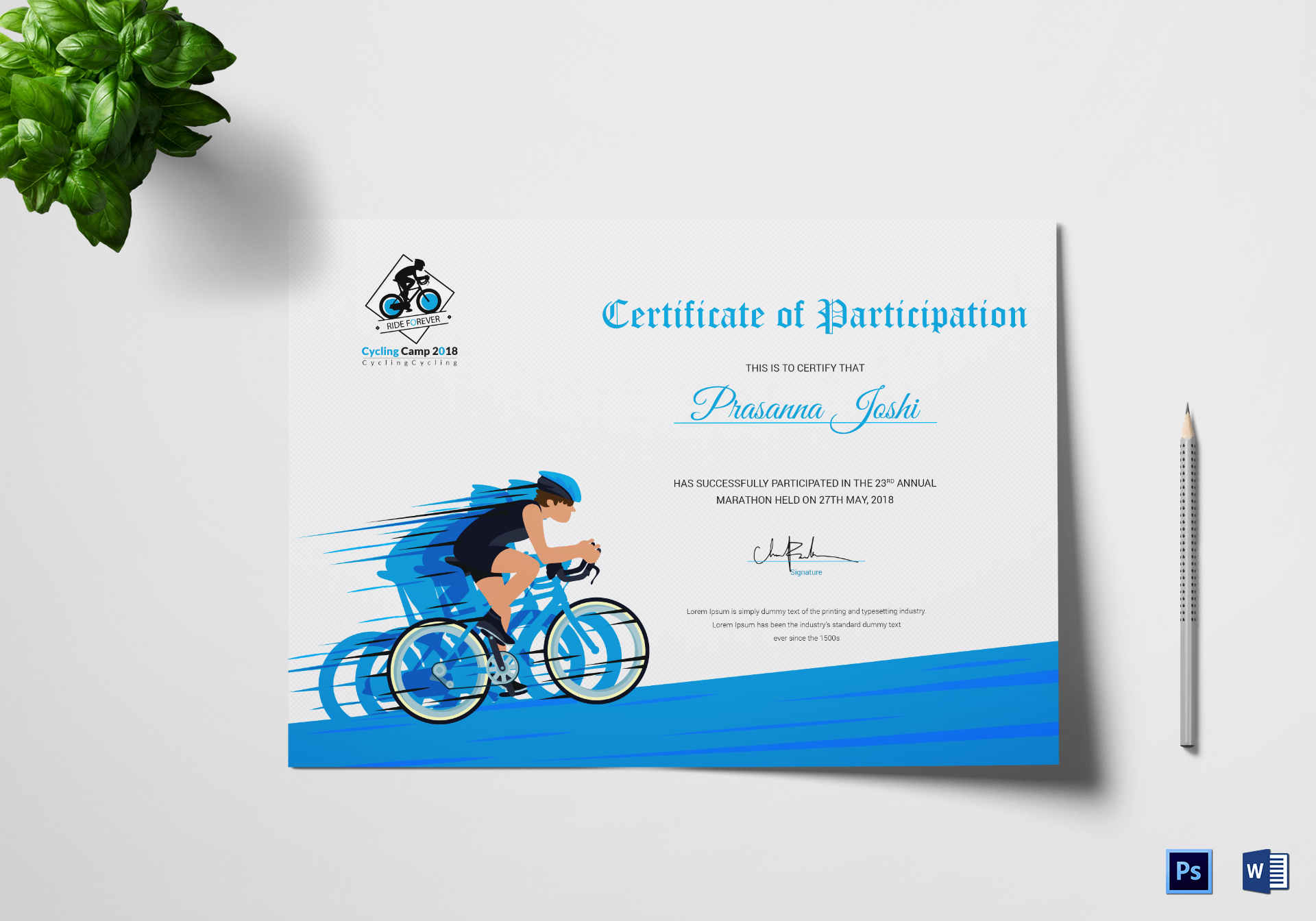 Cyclothon participation certificate design template in psd word cyclothon participation certificate template yelopaper Images