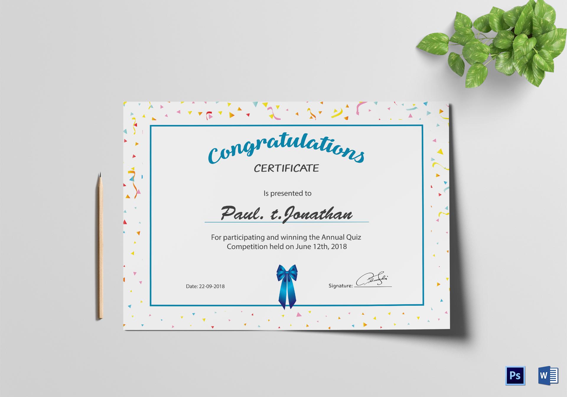Simple participant congratulations certificate design template in simple participant congratulations certificate template yelopaper Gallery