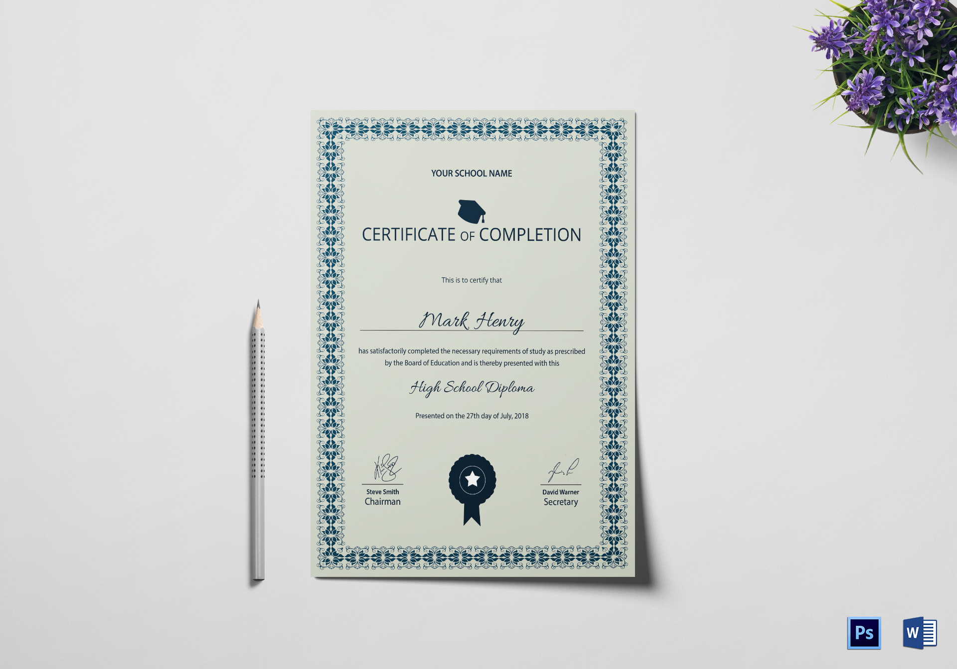 High School Diploma Completion Certificate Template