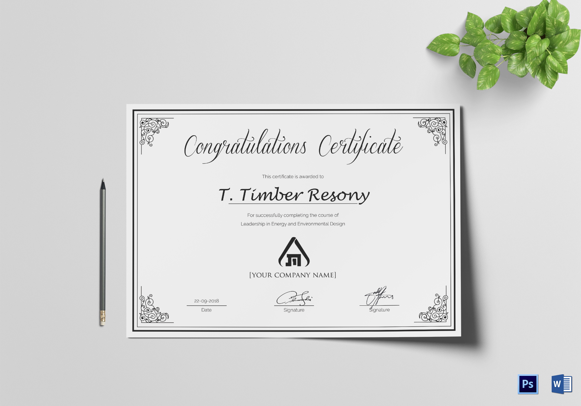 Simple Congratulation Certificate Template