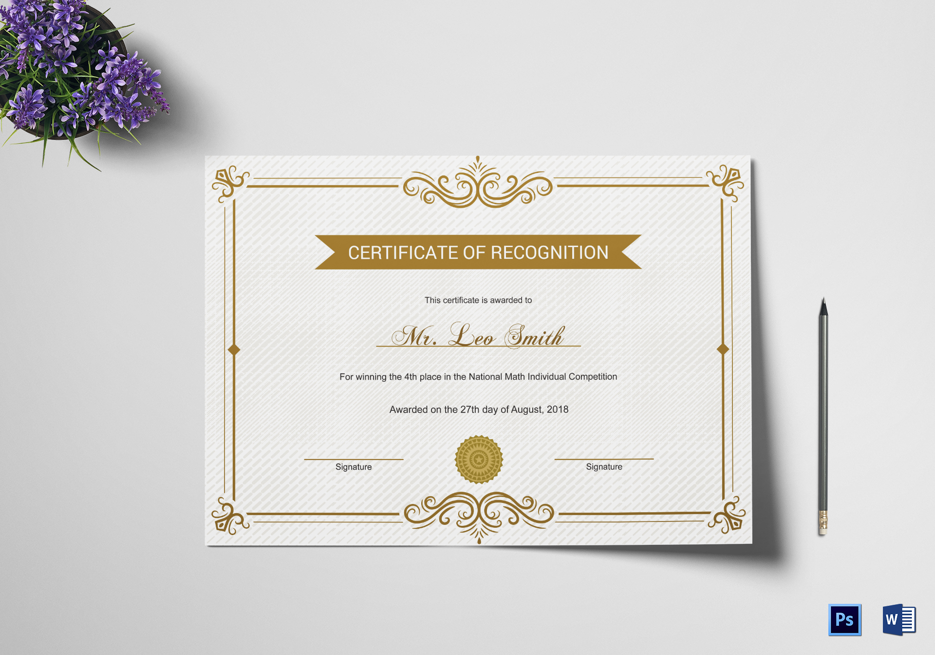 School Recognition Certificate Design Template In Psd Word