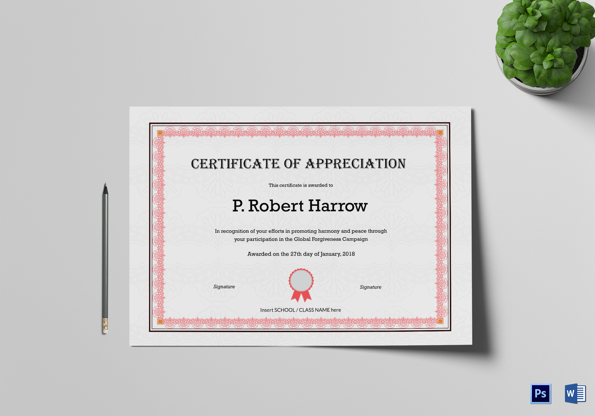School Appreciation Certificate Template