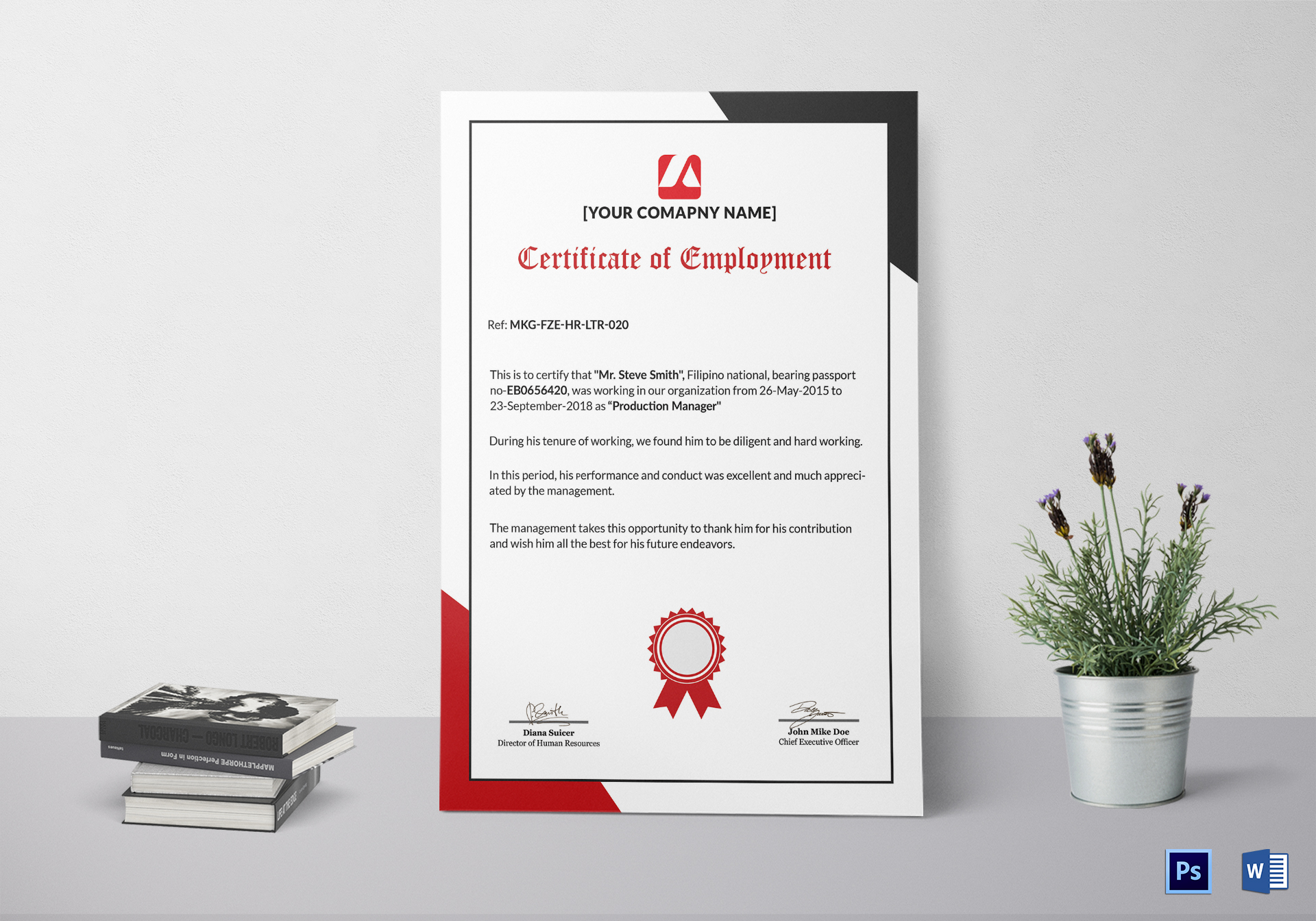 appreciation certificates for employees