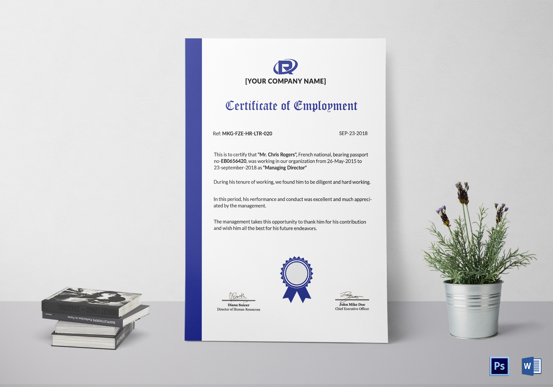 Excellent employment certificate design template in psd word sample employment certificate template yelopaper Image collections