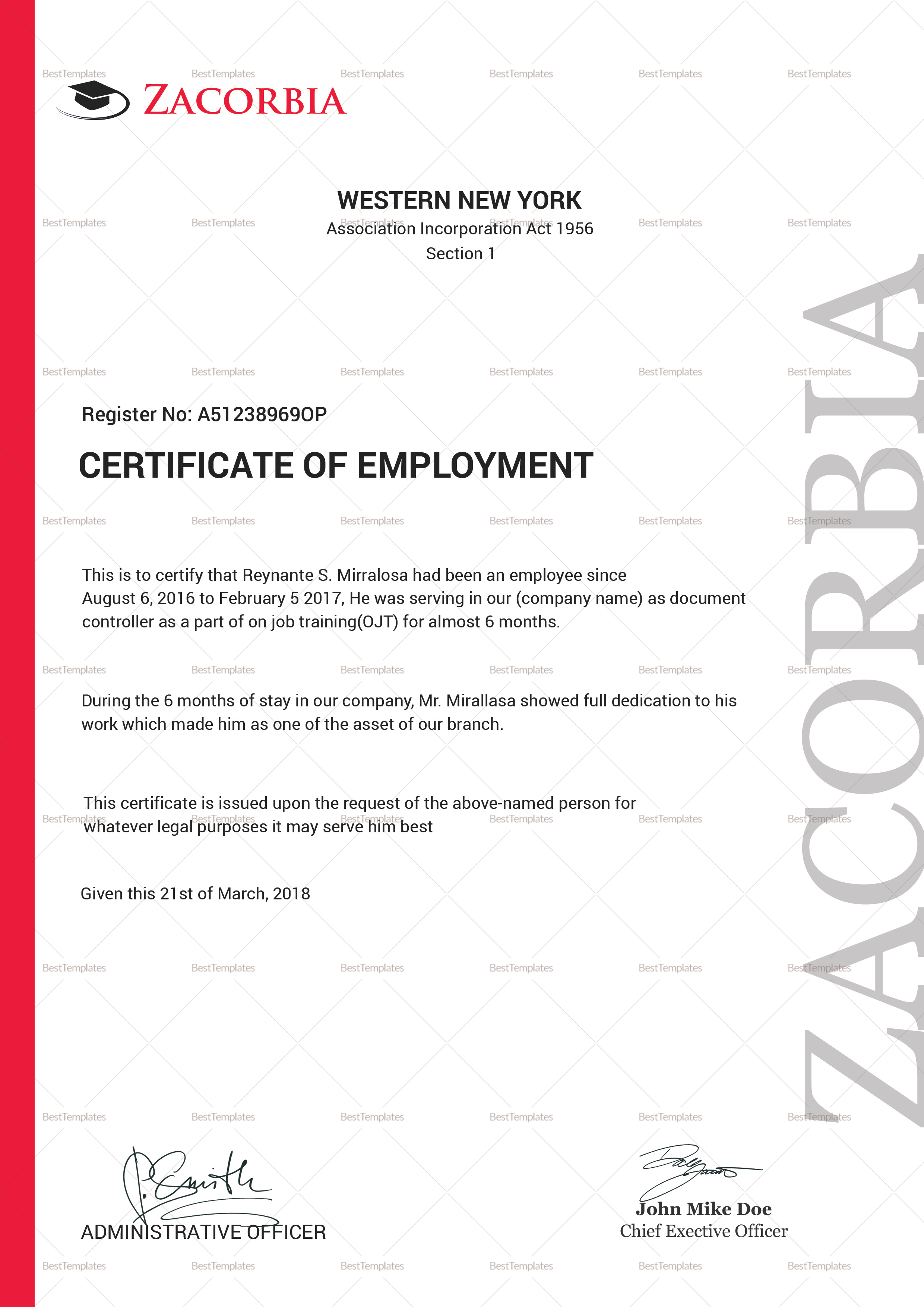 Master Employment Certificate Template