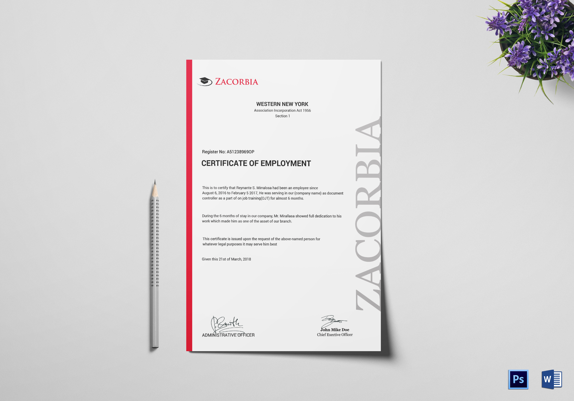 Master Employment Certificate Design Template In Psd Word