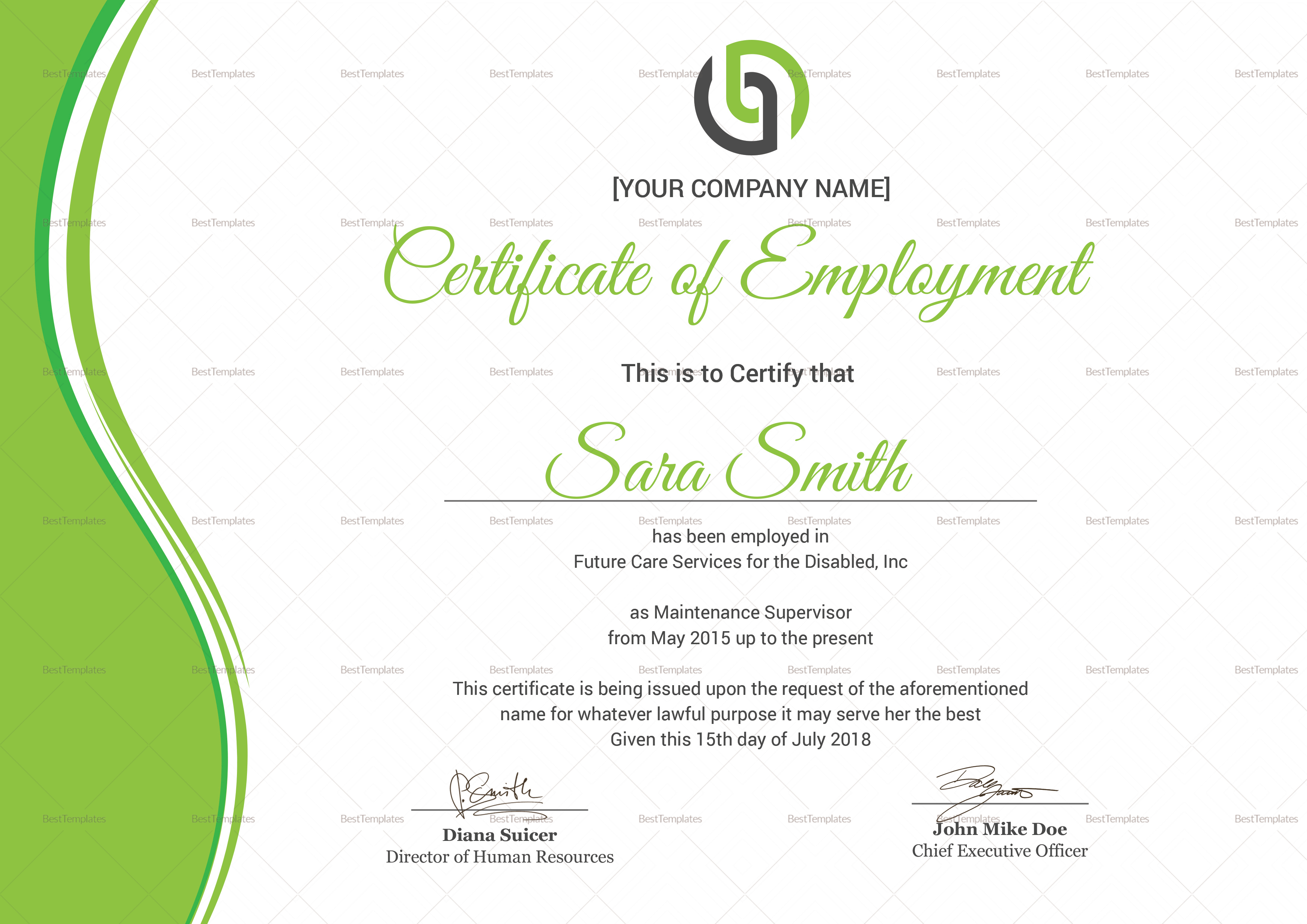 Specialized Employment Certificate Template