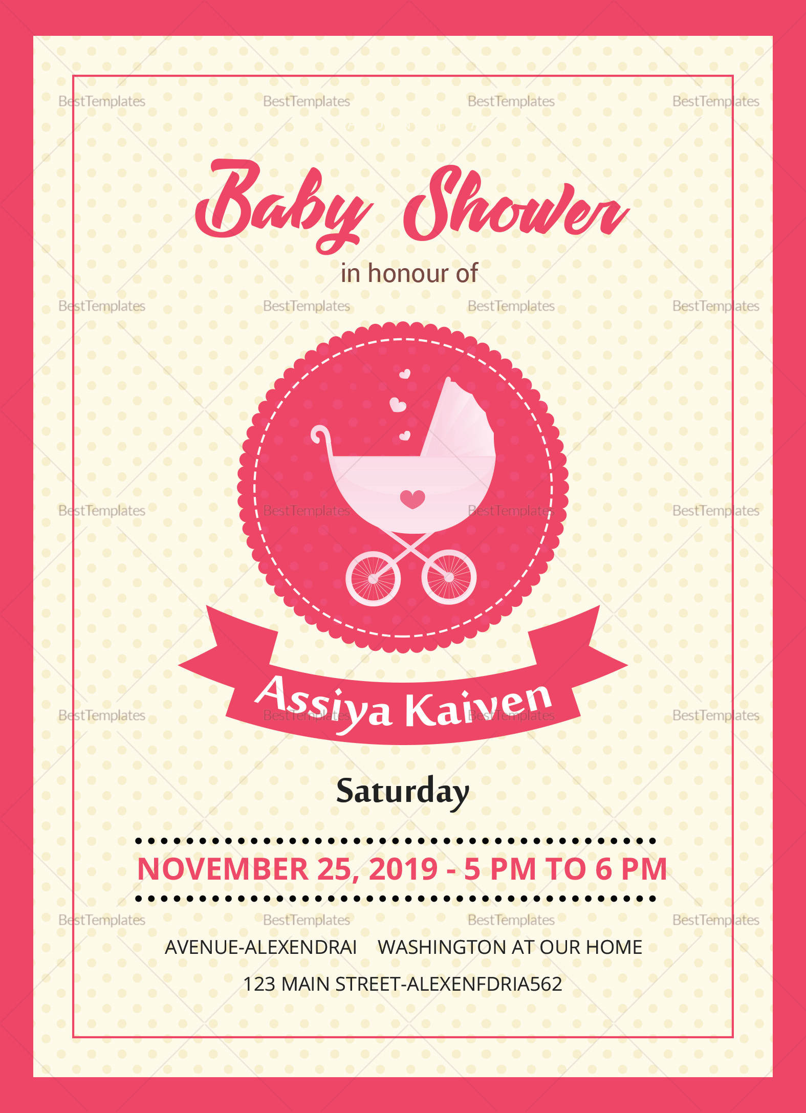 Classic Baby Shower Invitation Design Template