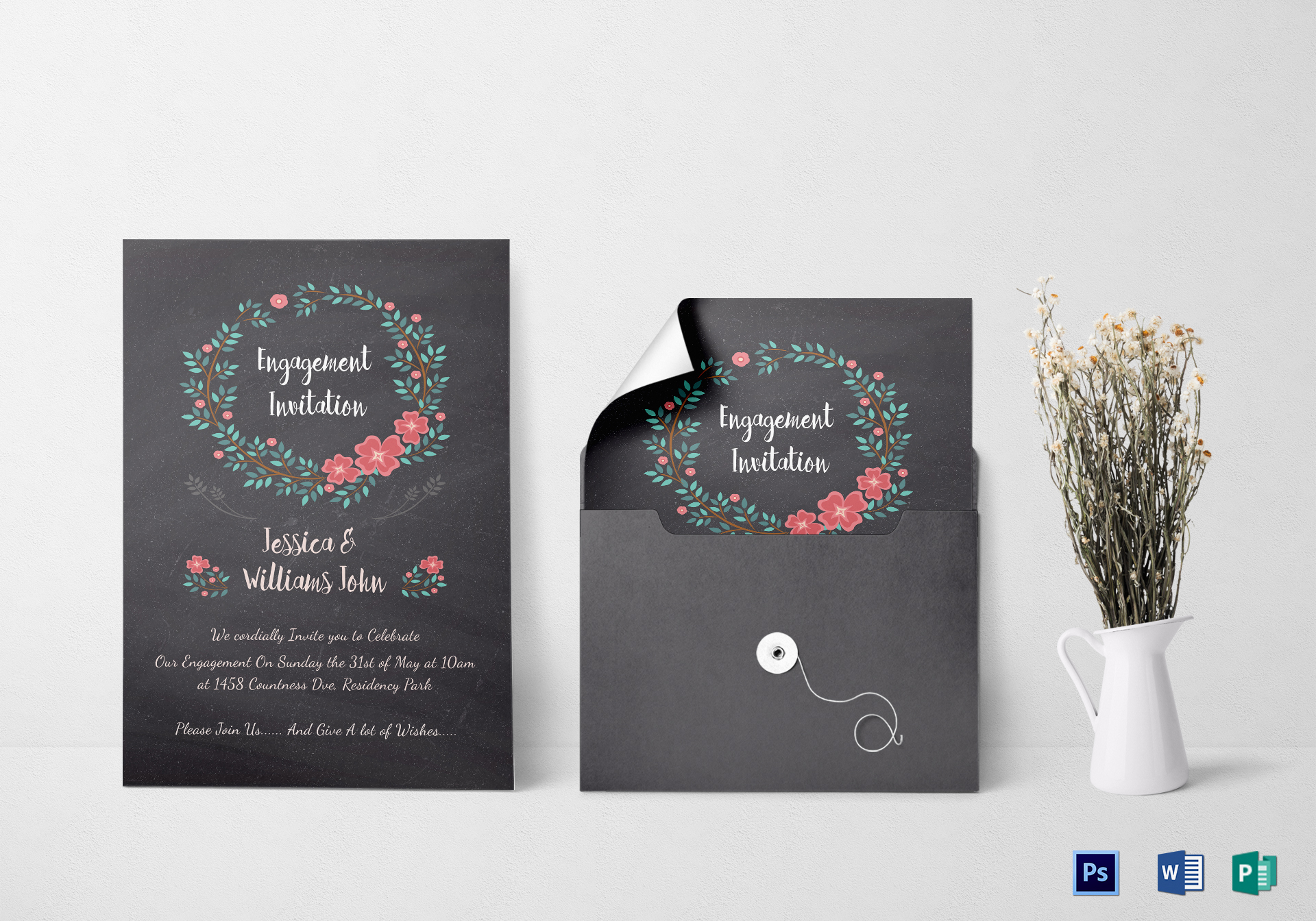 Engagement Invitation Card Design Template In Word Psd Publisher