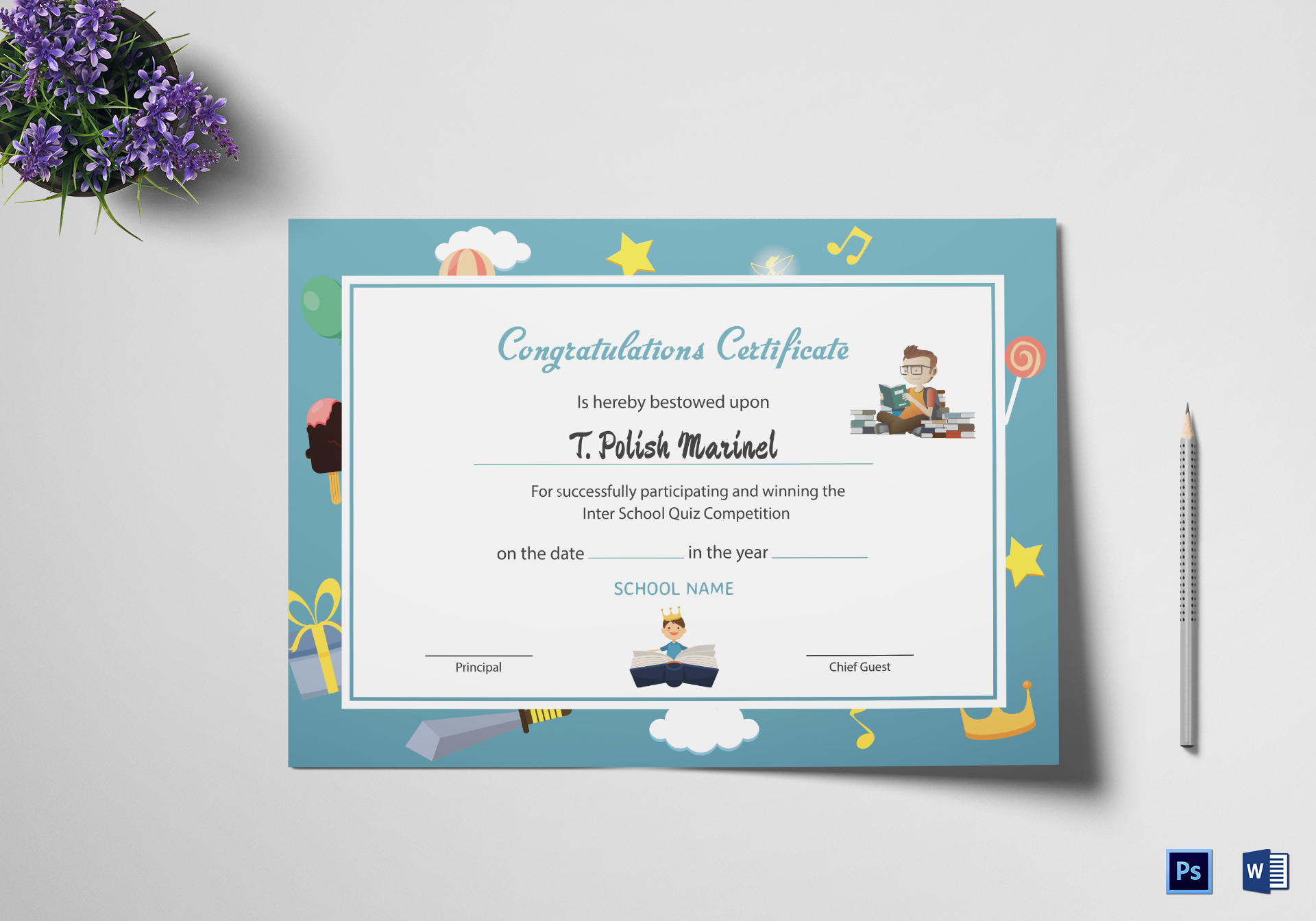 Reading Award Congratulations Certificate Design Template in PSD, Word