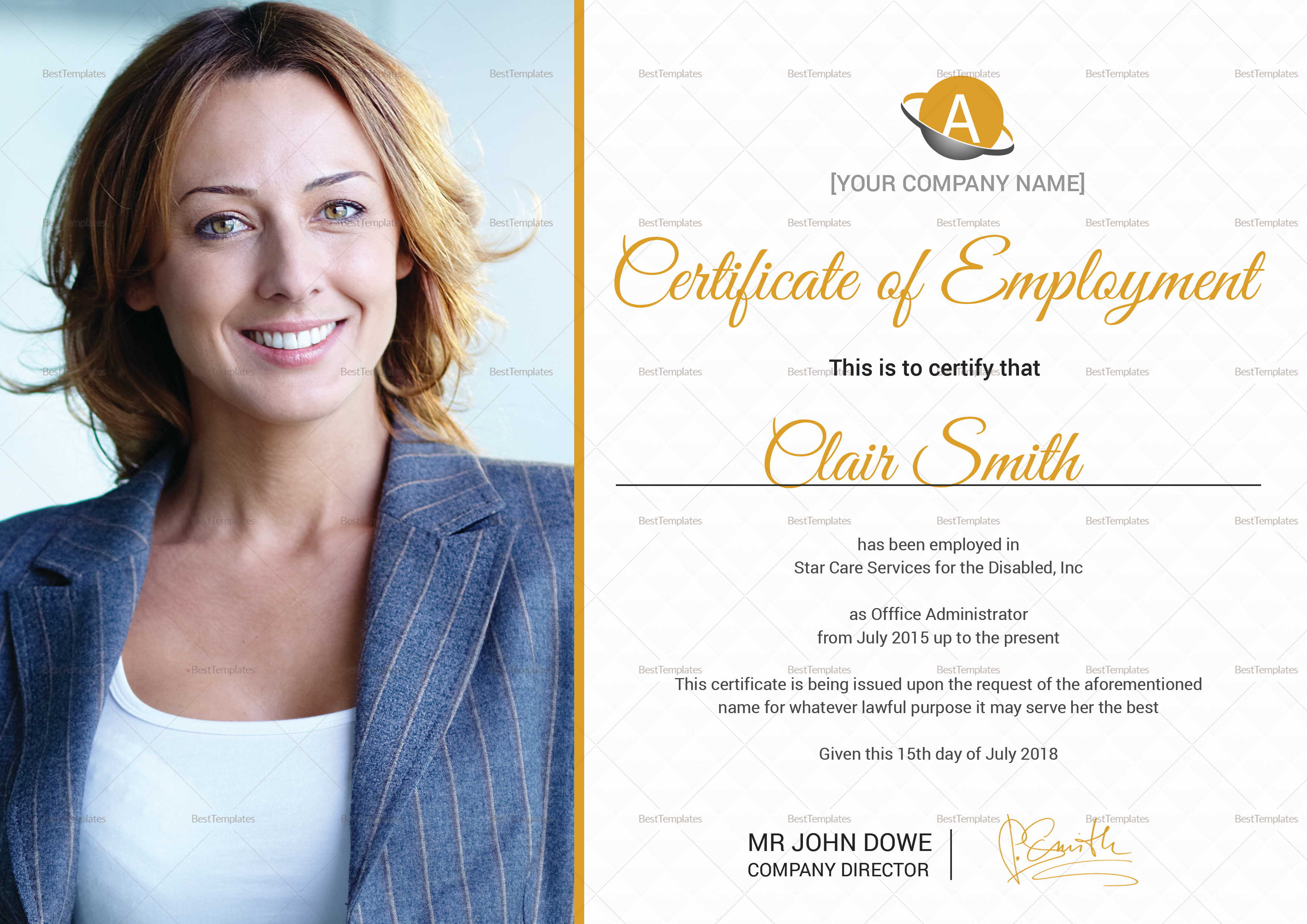 Skilled Employment Certificate Template