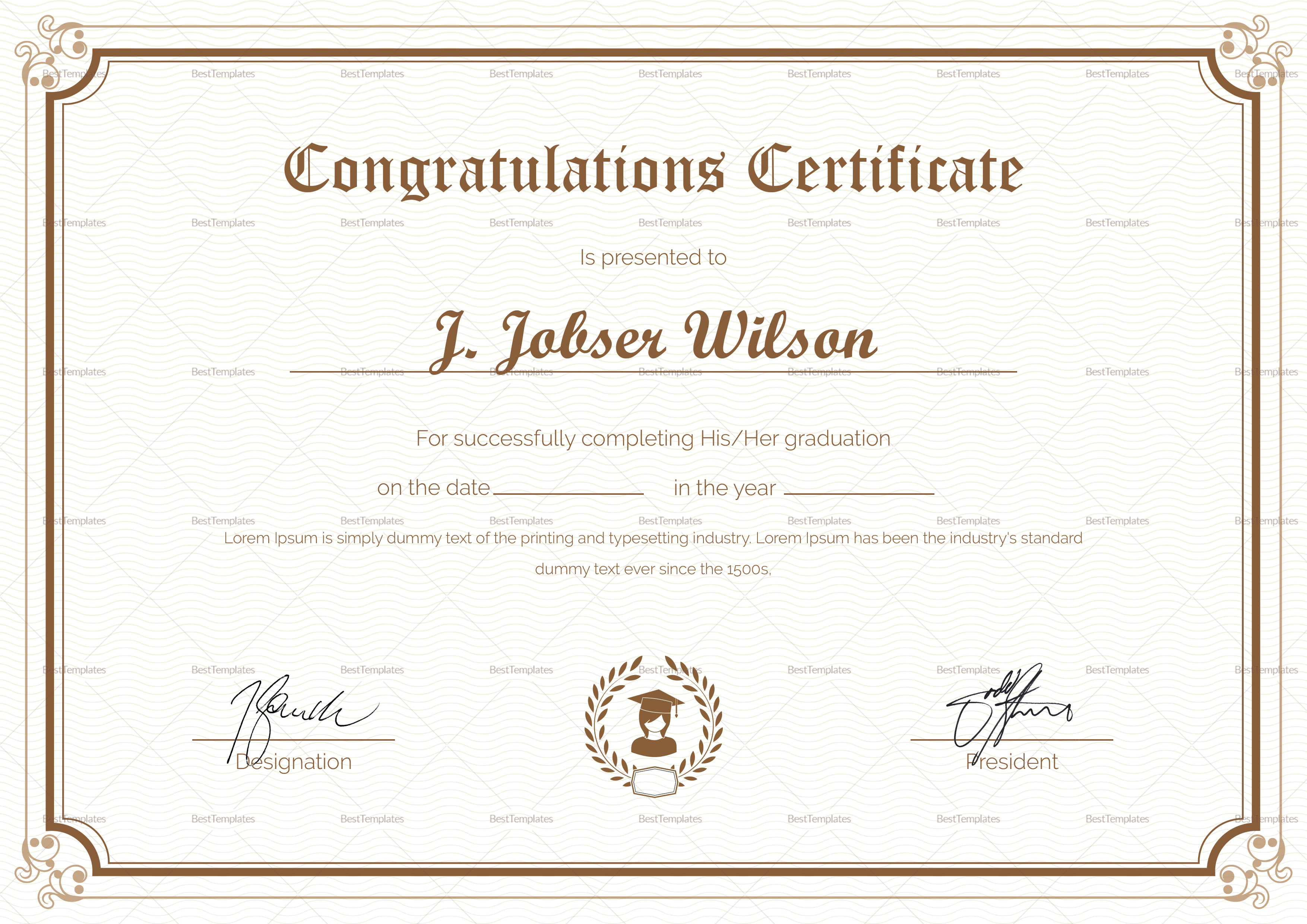 graduation completion congratulations certificate design
