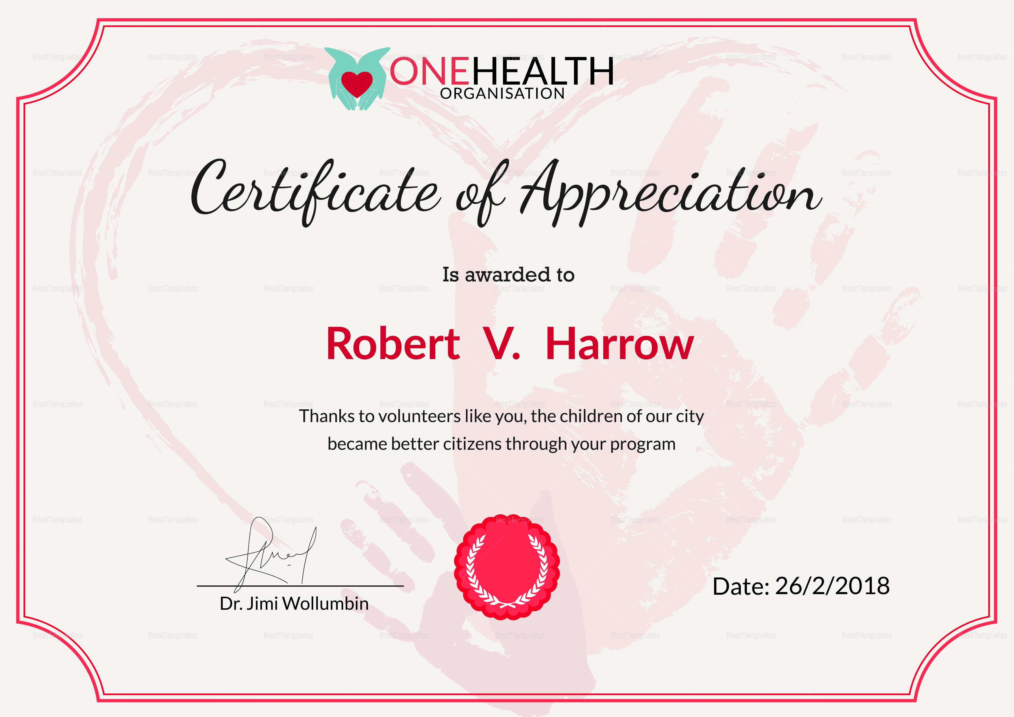 Health Appreciation Certificate Design Template