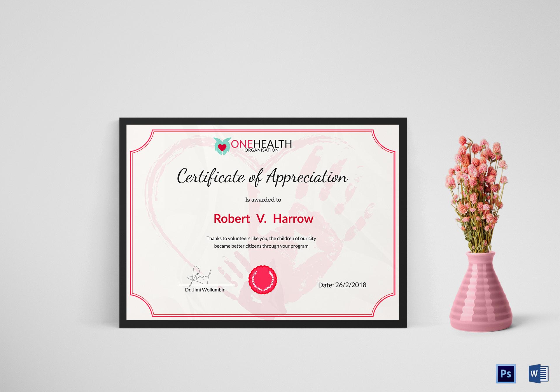 Health Appreciation Certificate Template