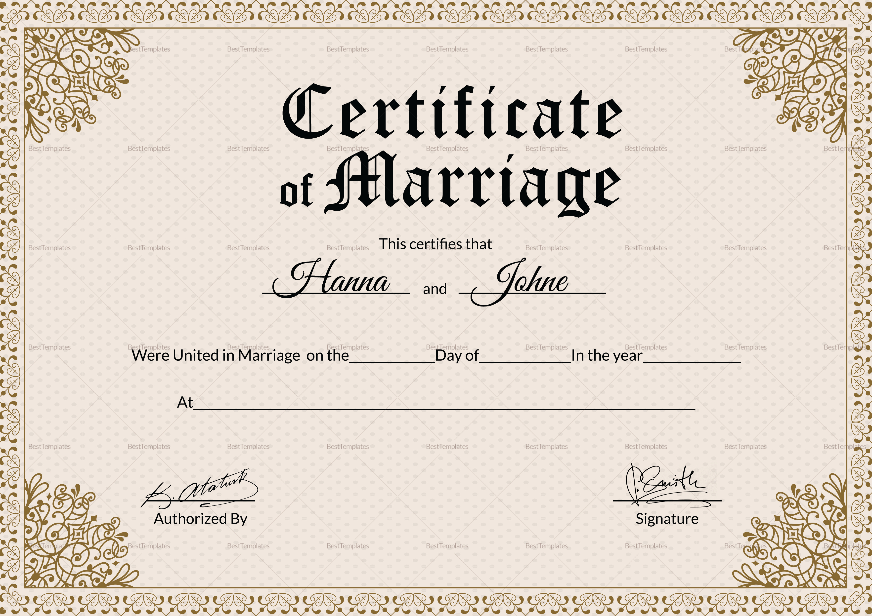 Formal Marriage Certificate Design Template In Psd Word: Keepsake Marriage Certificate Design Template In PSD, Word