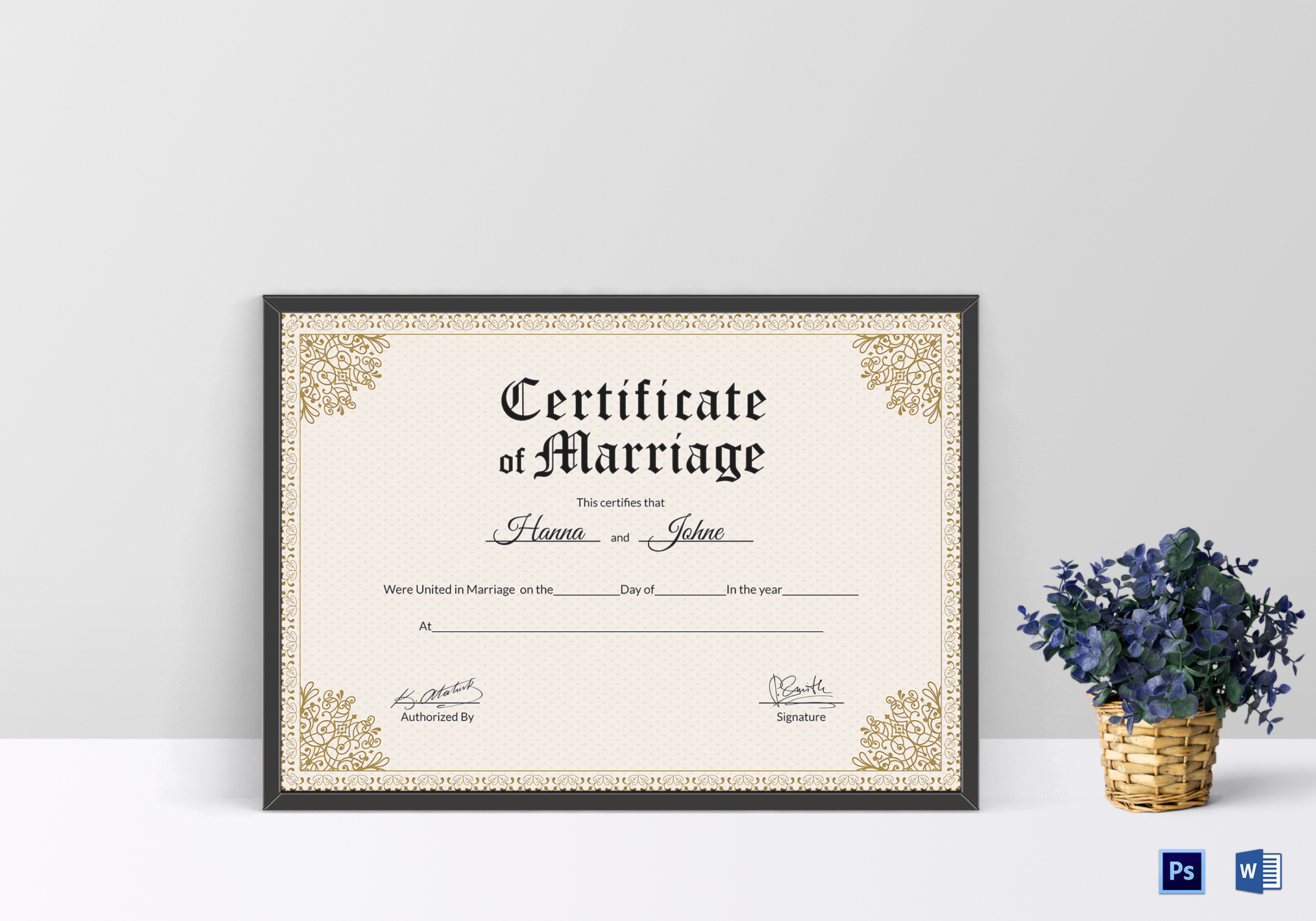 keepsake marriage certificate design template in psd word