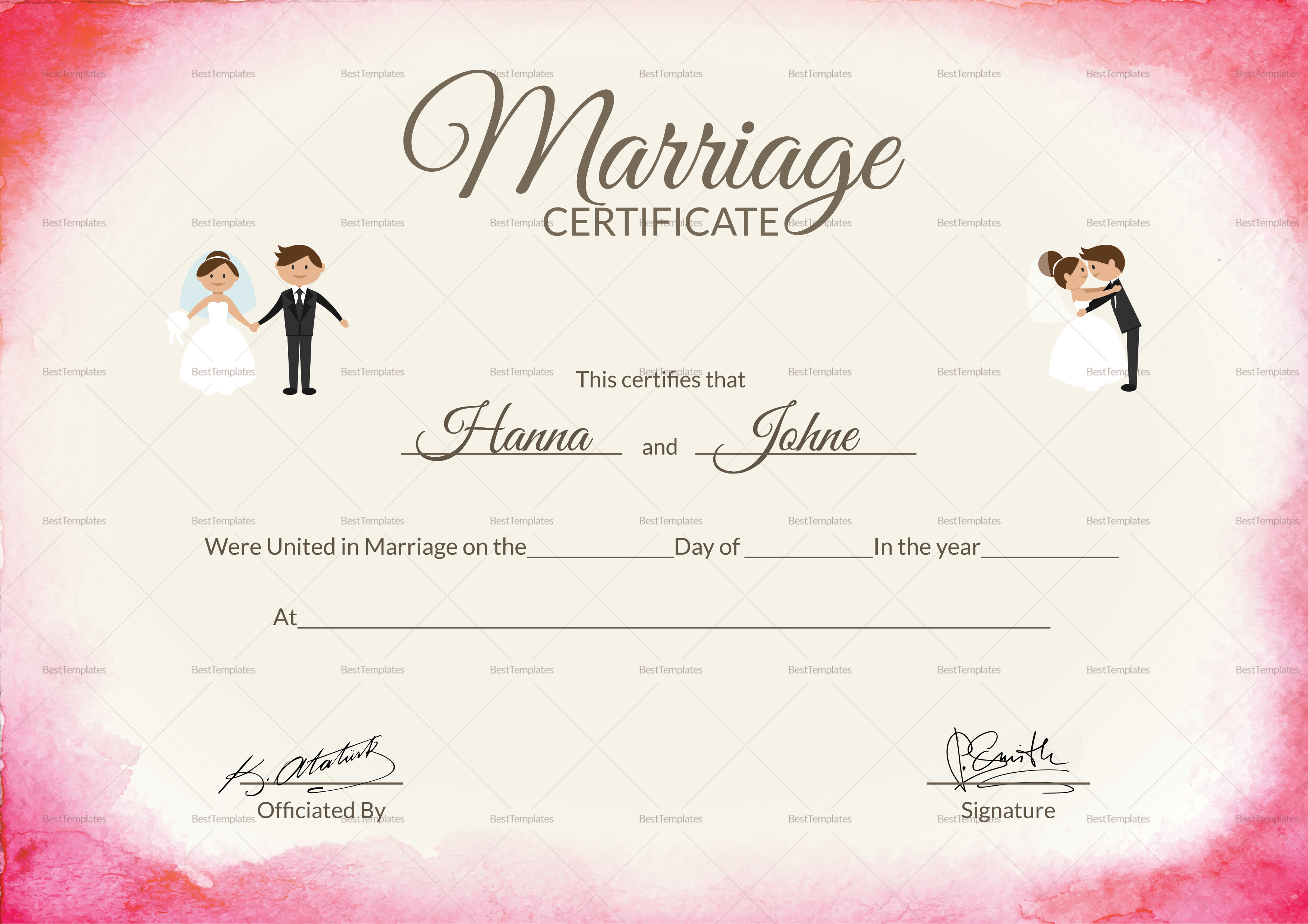 It is a photo of Smart Marriage Certificate Template