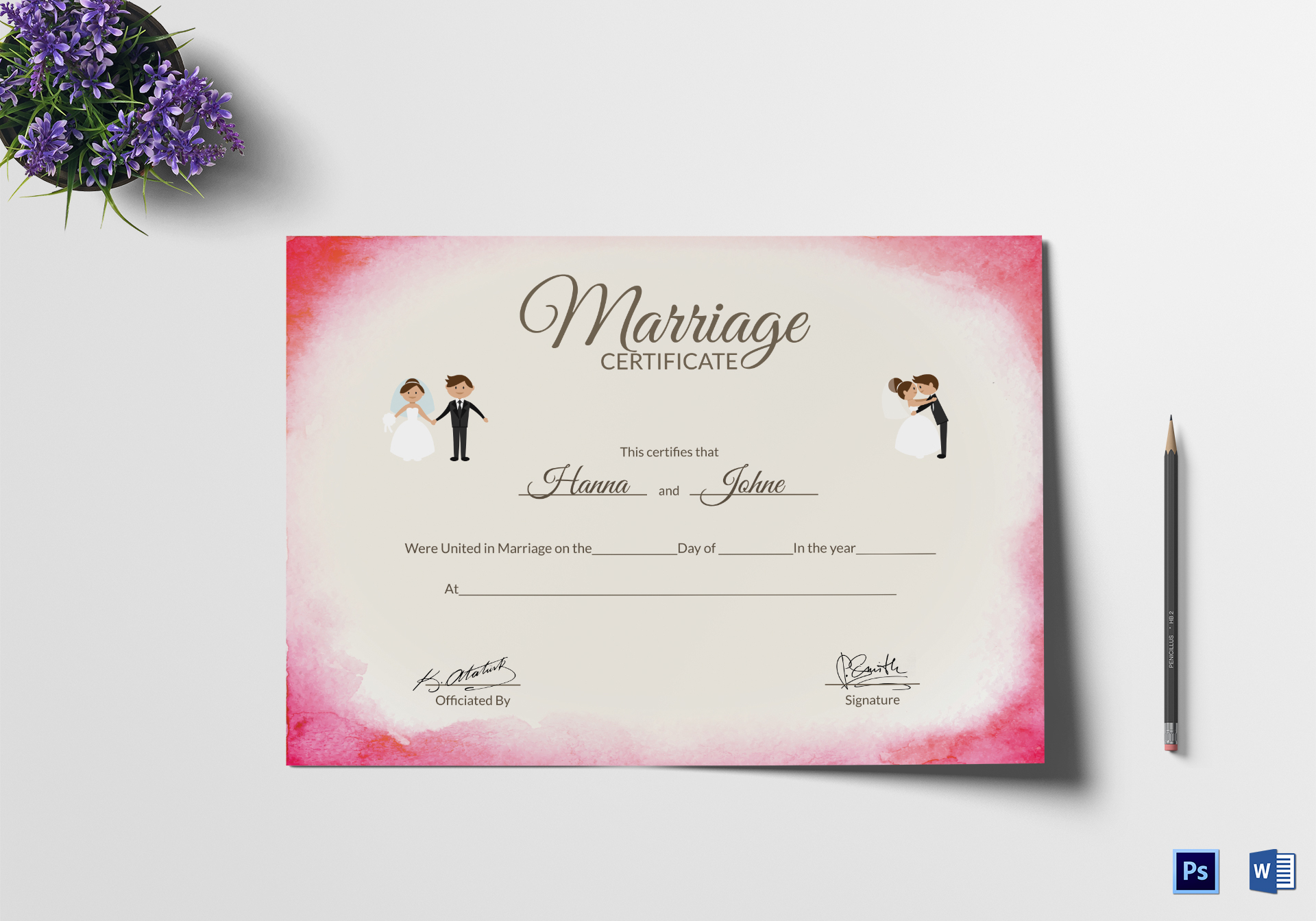 It is a photo of Challenger Marriage Certificate Template Word