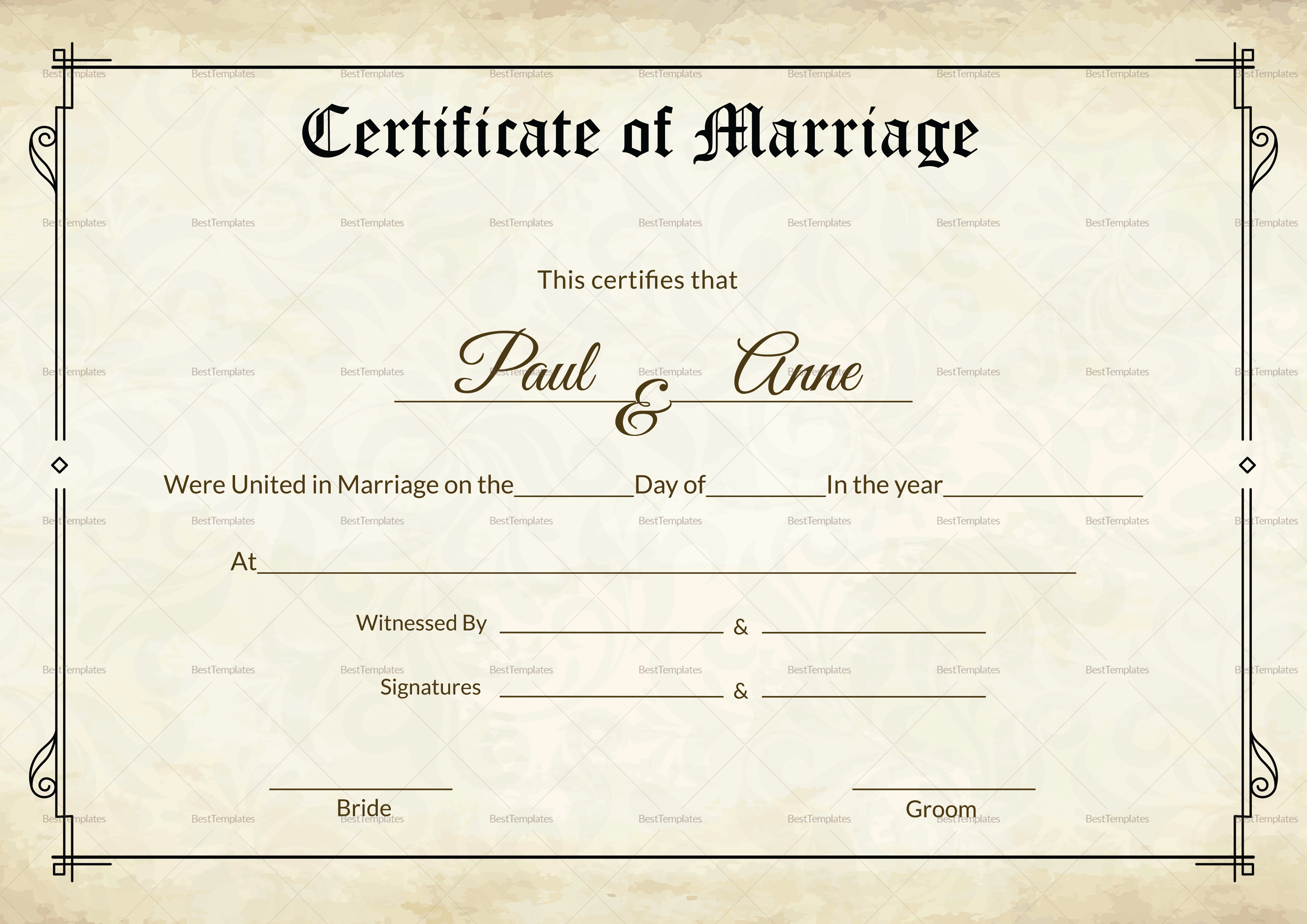 Microsoft Word Templates Green Wedding Certificate Template Marriage