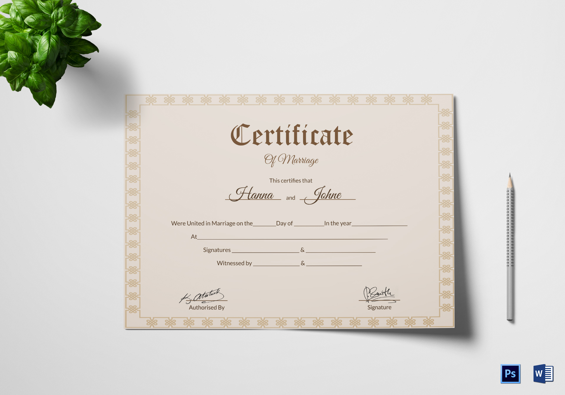 Vintage Marriage Certificate Design Template In Psd Word: Simple Marriage Certificate Design Template In PSD, Word