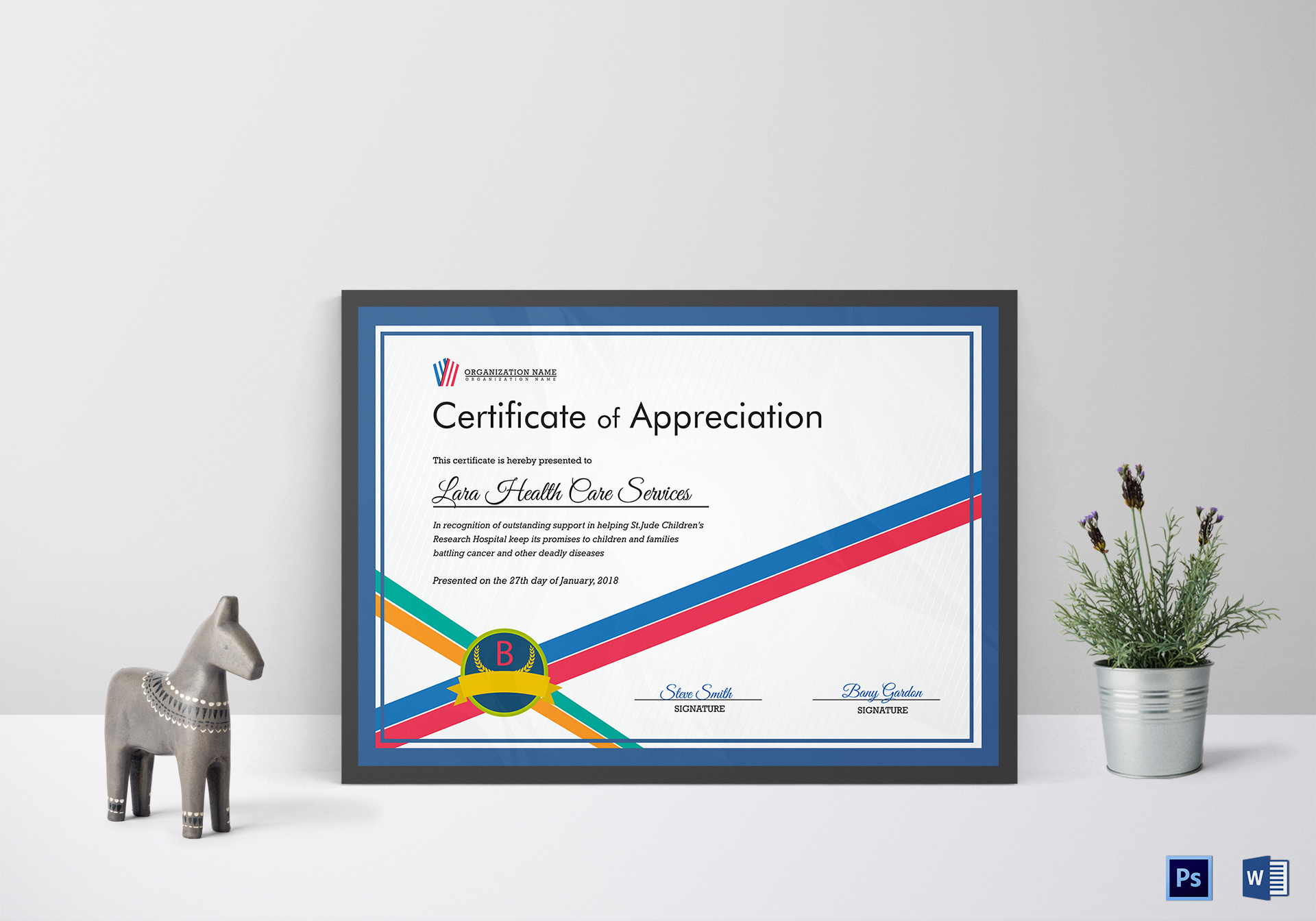 Organization Appreciation Certificate Template