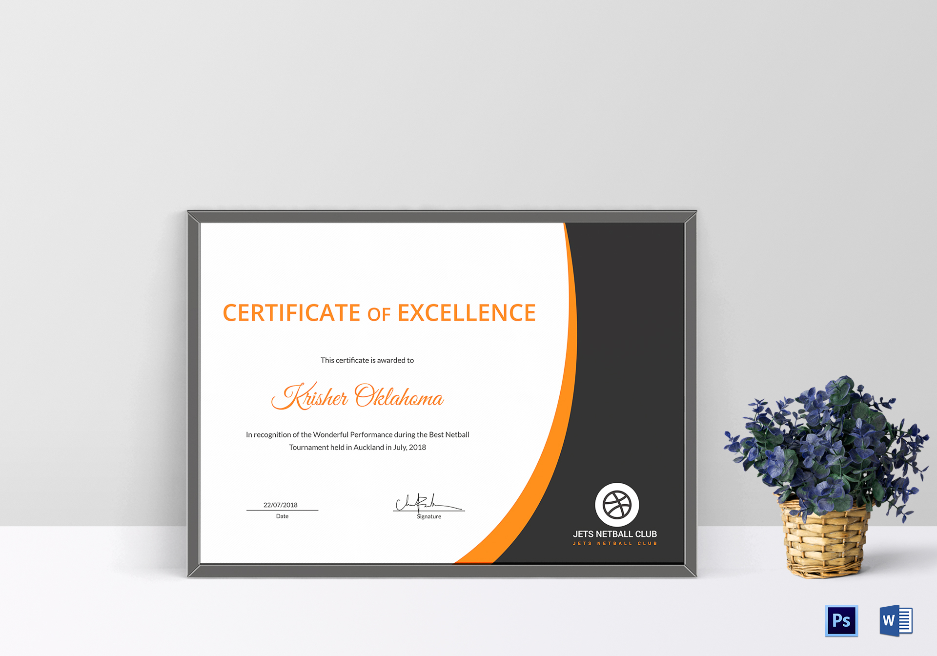 netball certificate design template in psd word