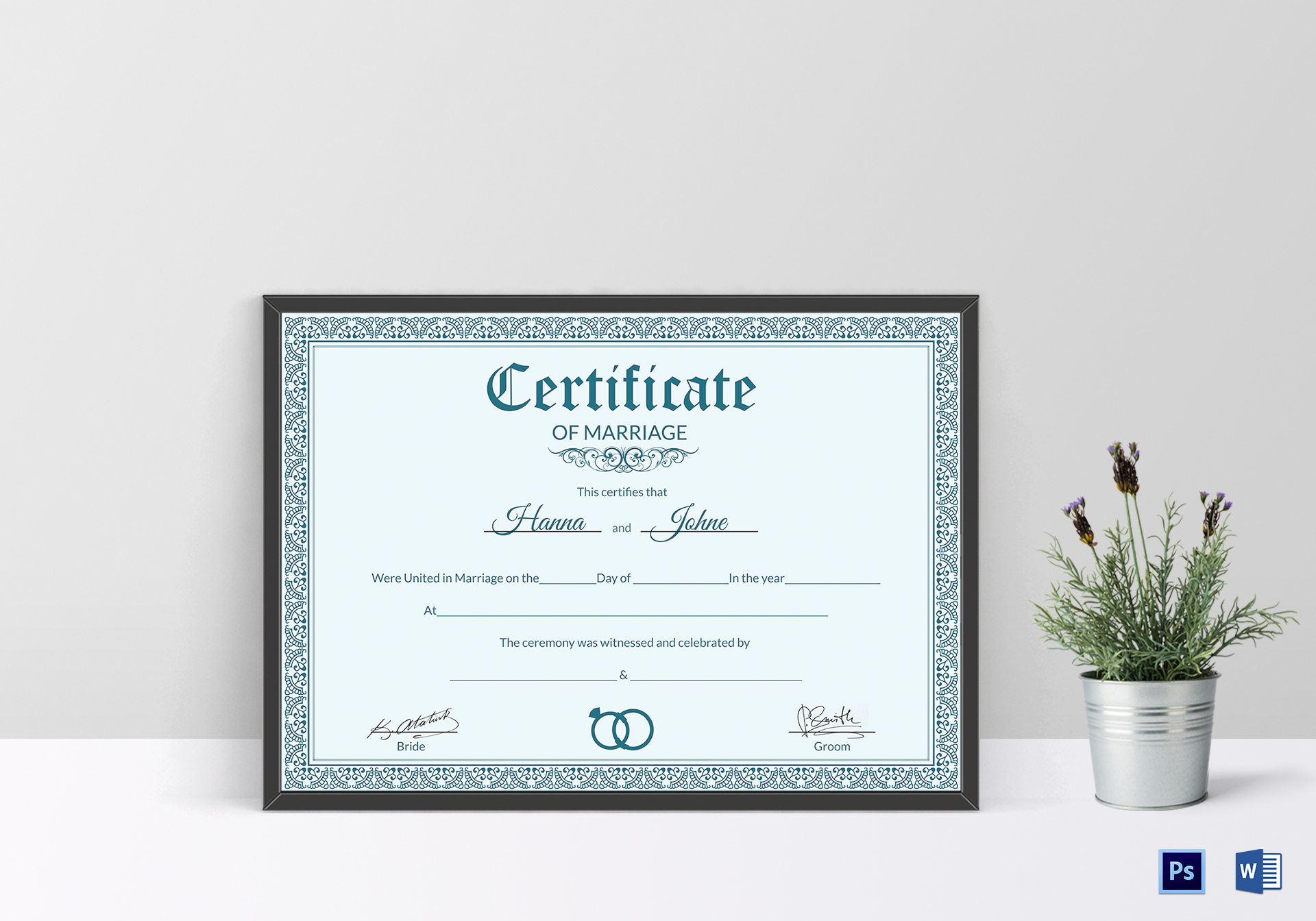 Formal marriage certificate design template in psd word formal marriage certificate template alramifo Image collections