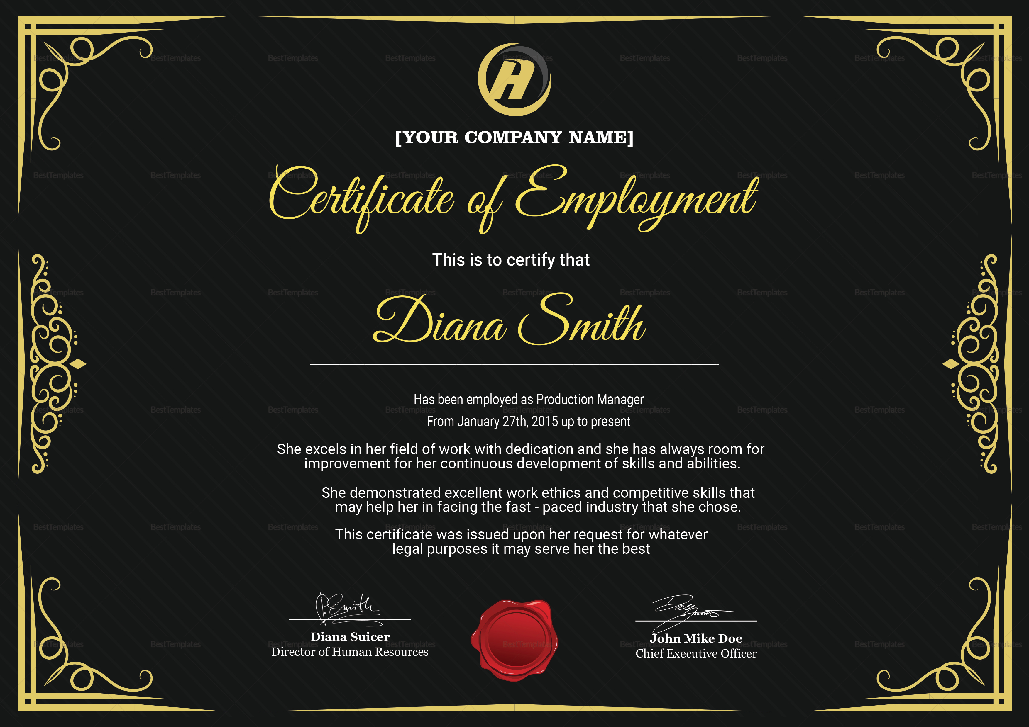 Qualified Employment Certificate Template