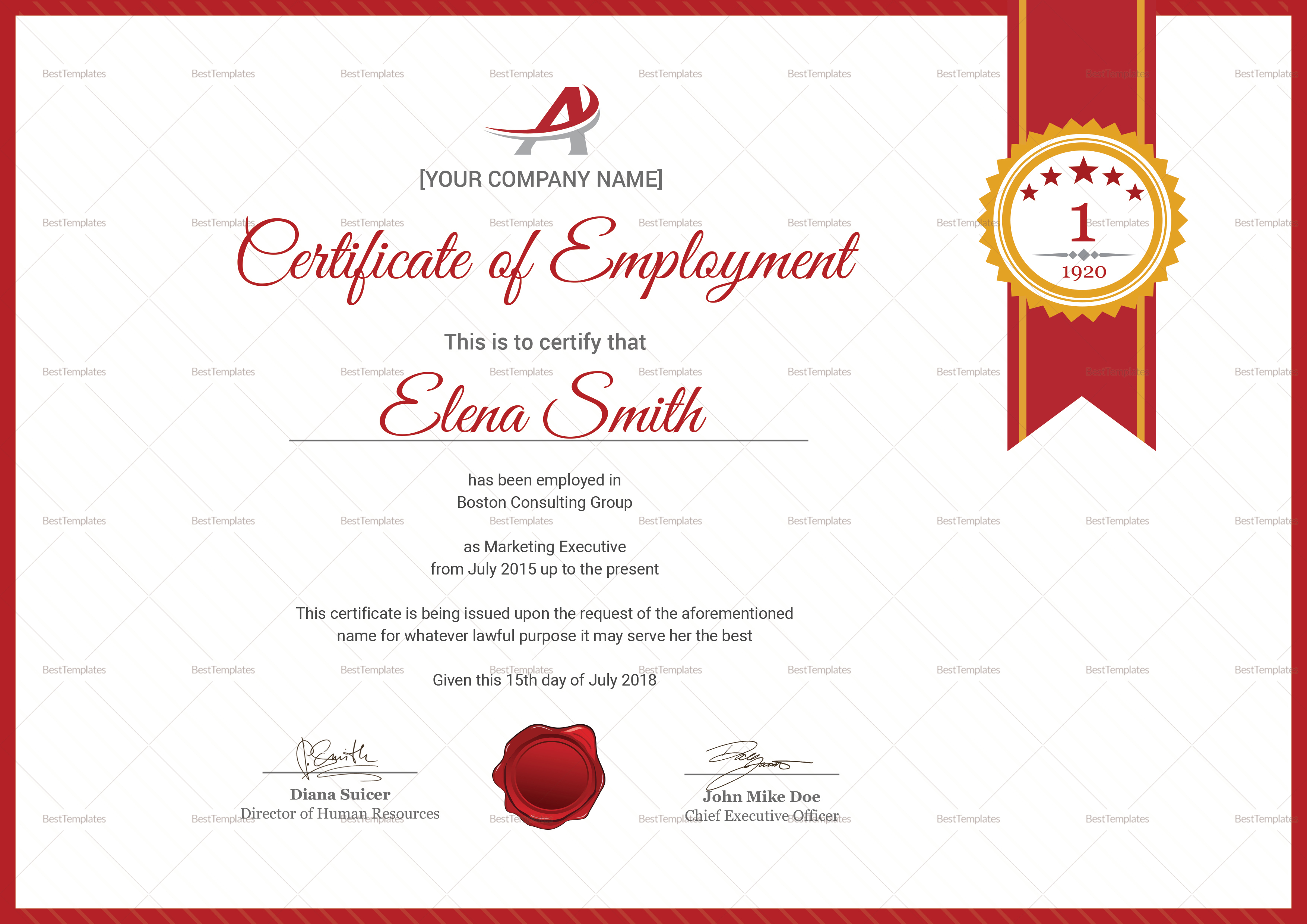 Dynamic Employment Certificate Template