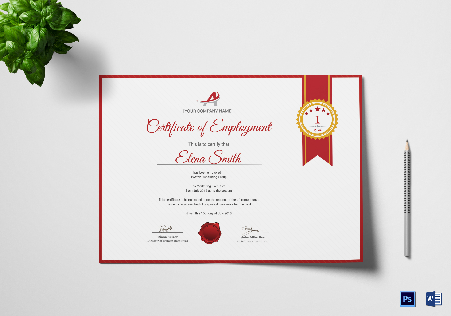 dynamic employment certificate design template in psd  word