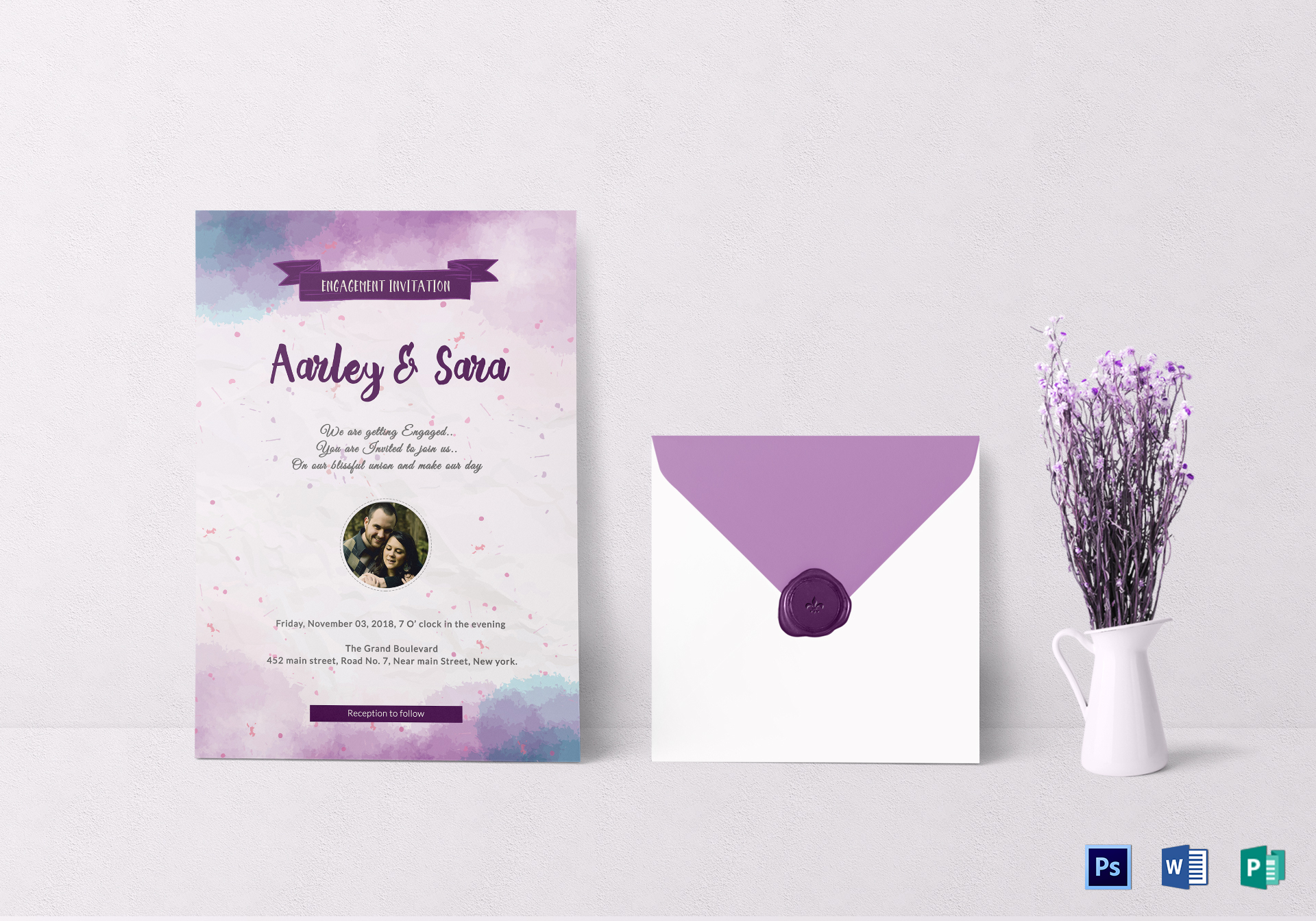 Engagement Party Invitation Card Design Template In Word Psd Publisher
