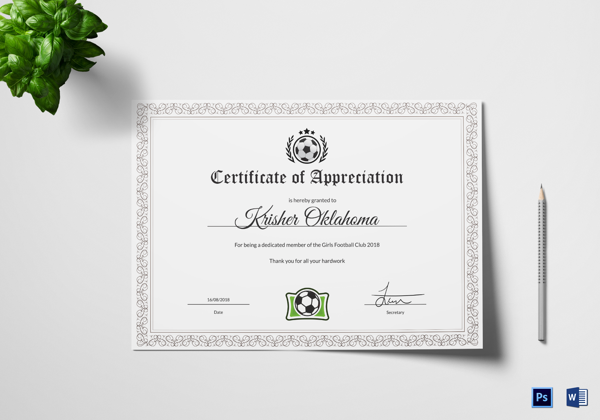 Women Football Appreciation Certificate Template ...