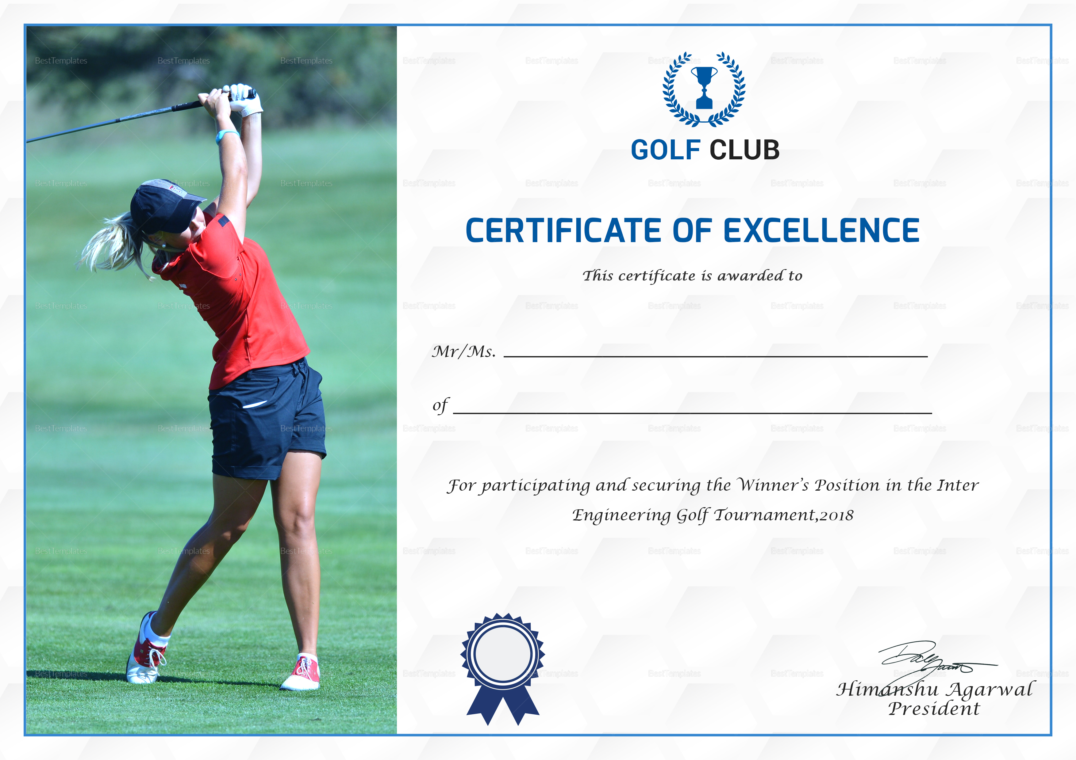 Luxury golf certificate templates pictures resume ideas namanasa golf excellence certificate design template in psd word yadclub Choice Image