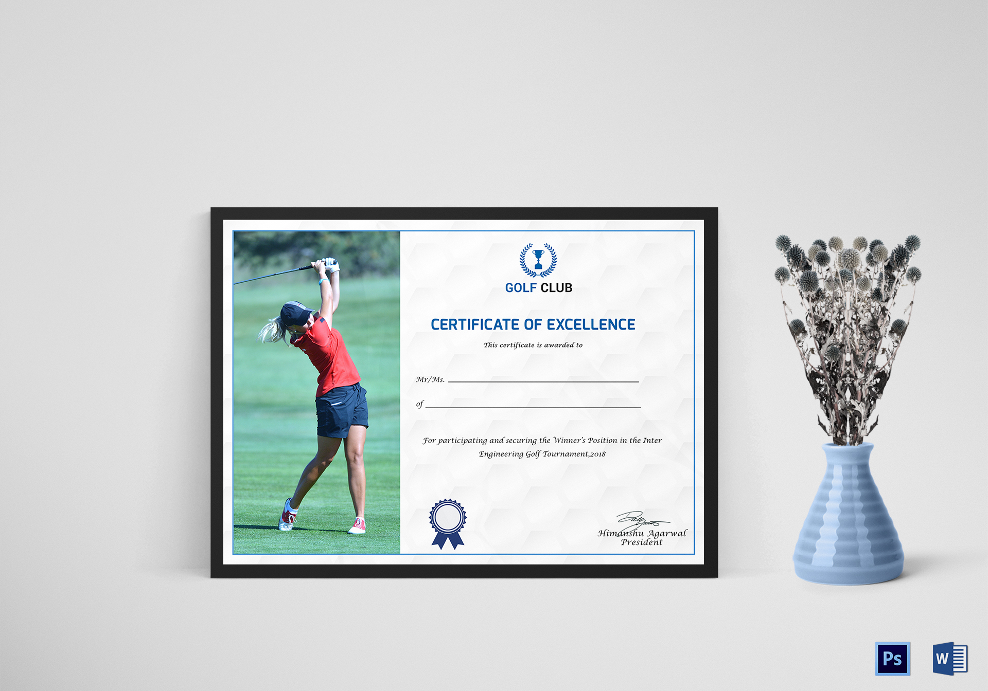 Golf Excellence Certificate Design Template In Psd Word