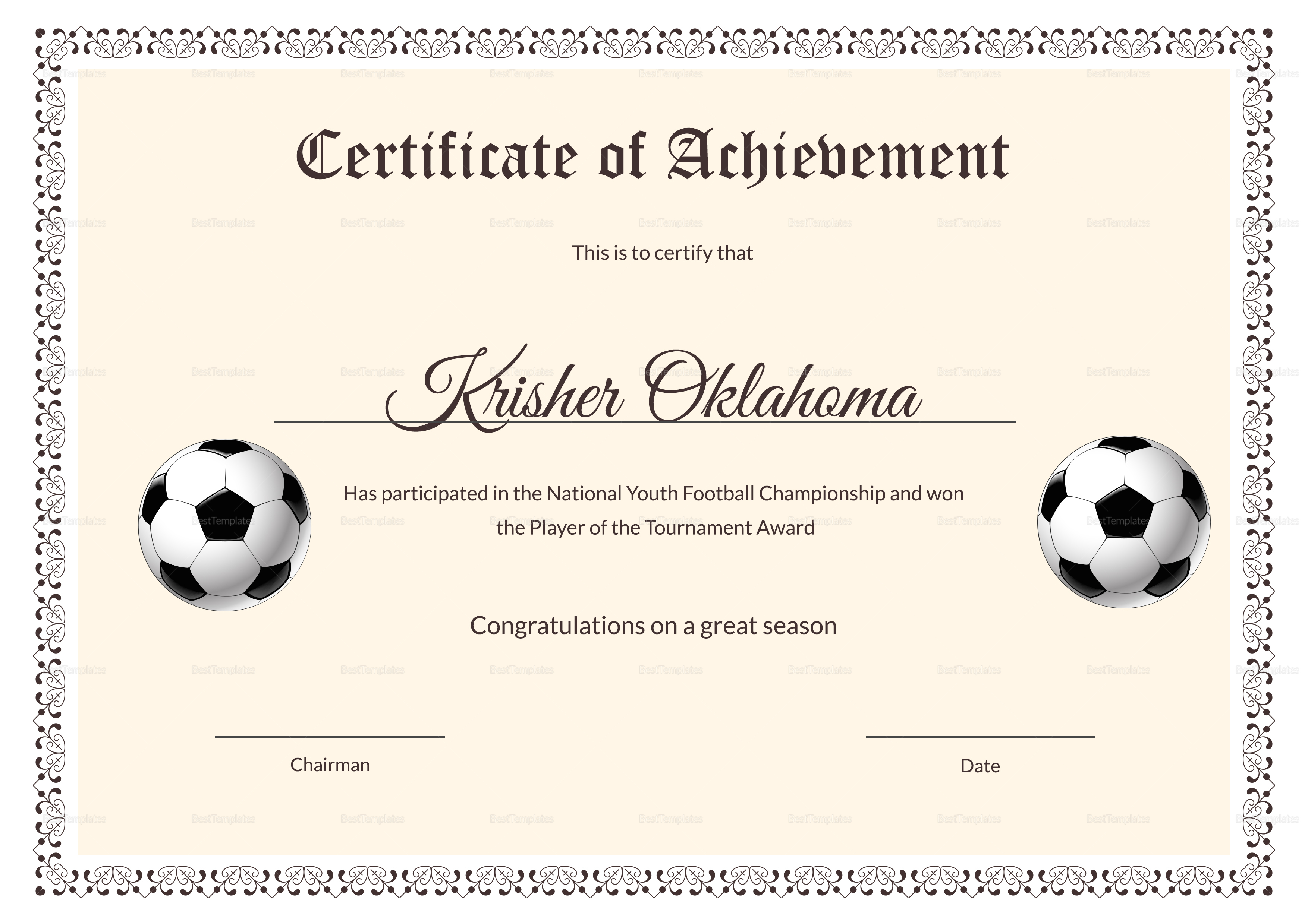 National youth football certificate design template in psd for Football certificate templates