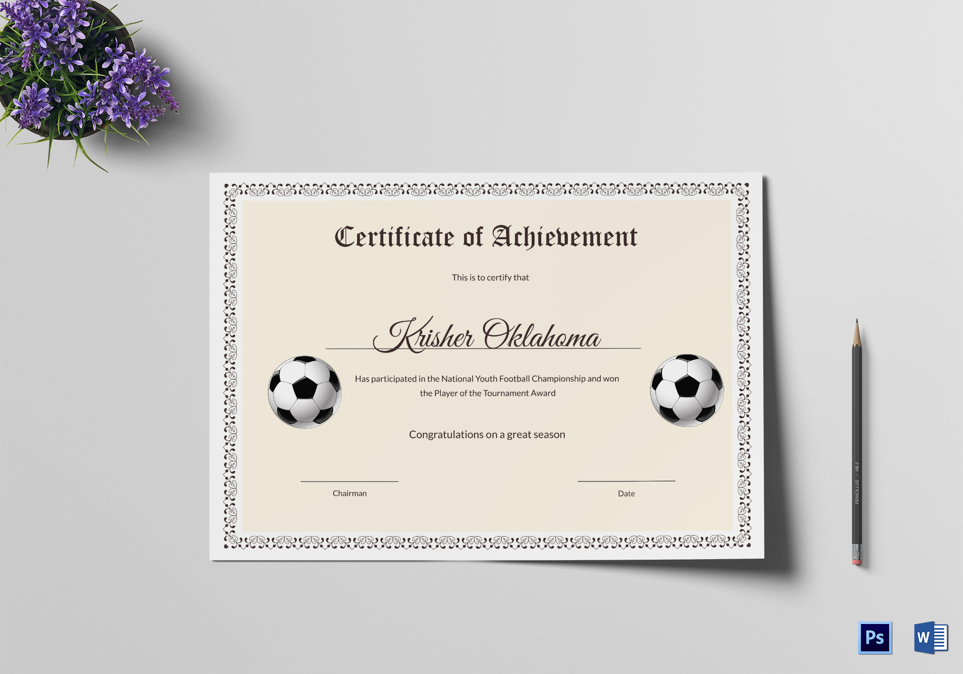 National Youth Football Certificate Template