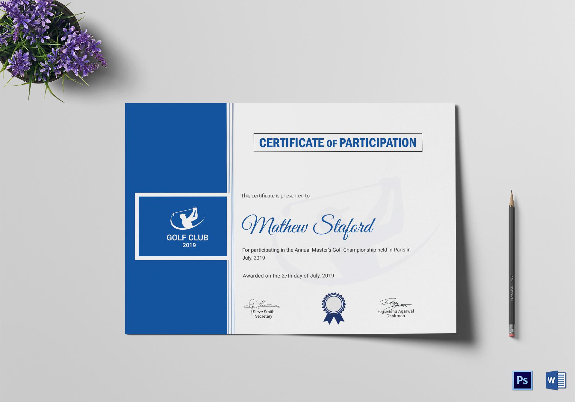 Golf Participation Certificate