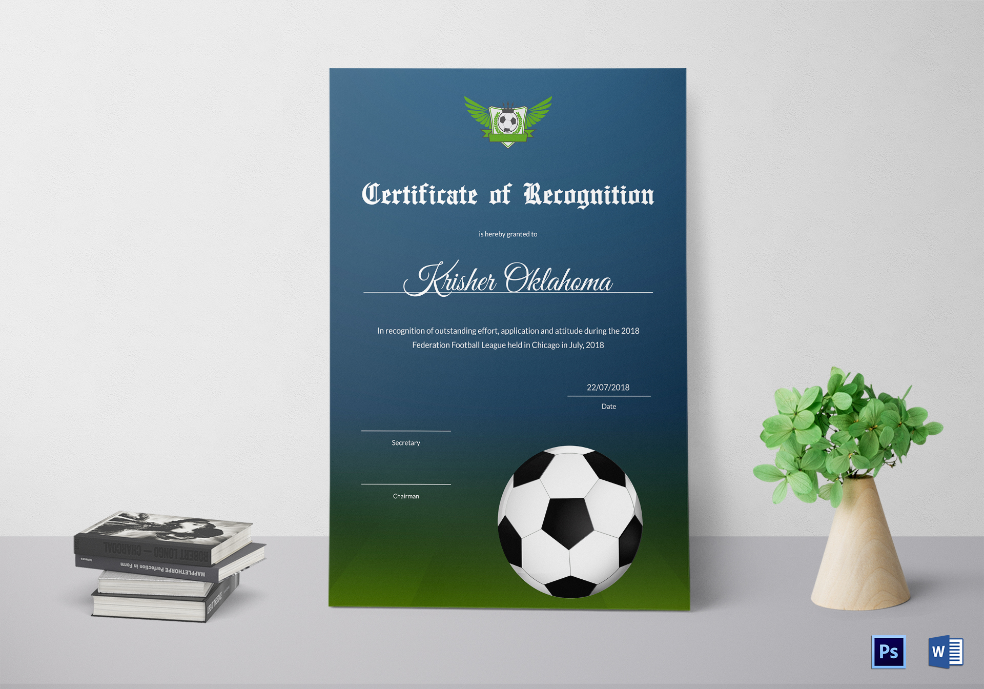 Federation Football League Recognition Certificate Design Template