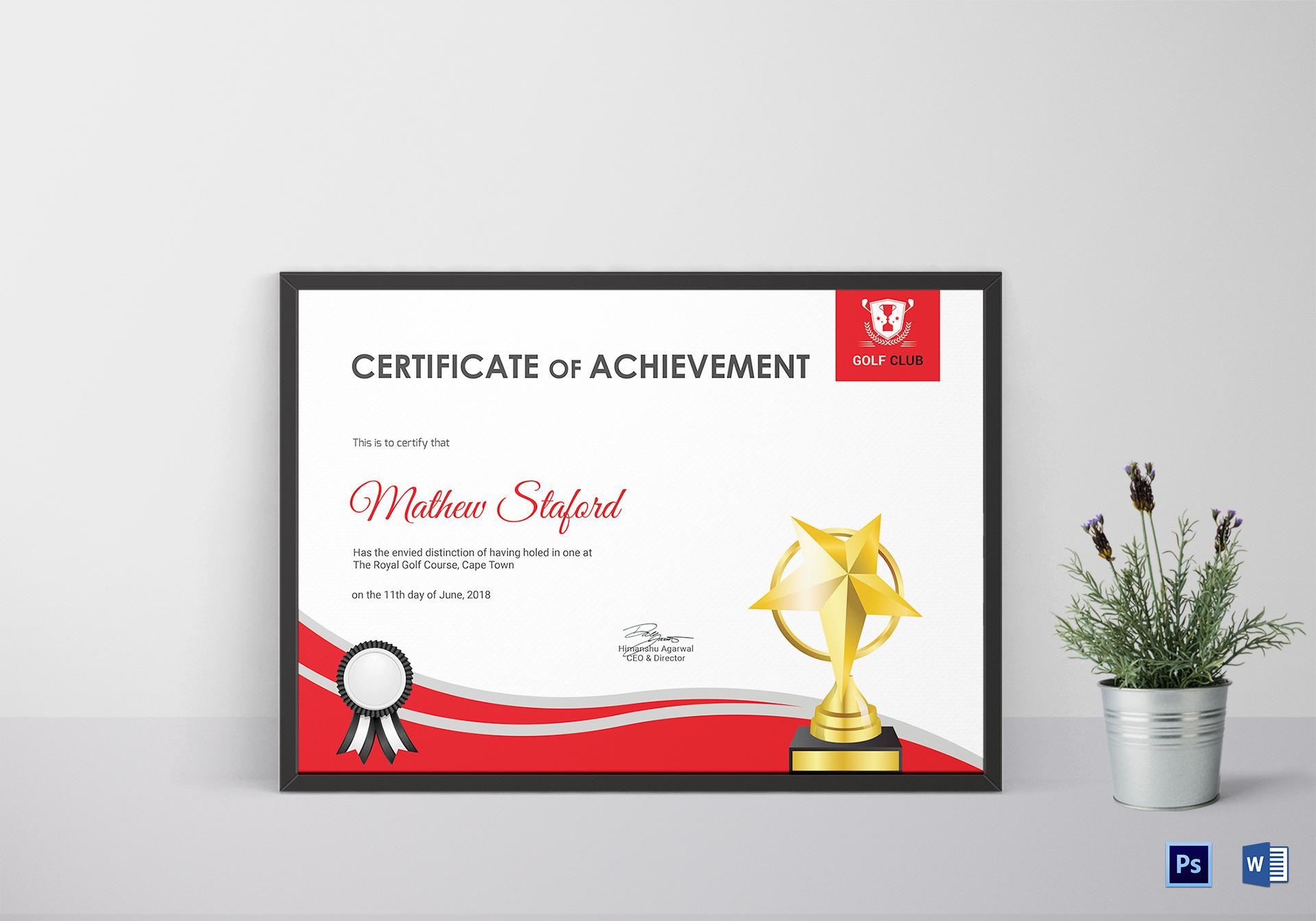 Golf Achievement Certificate Design Template In Psd Word