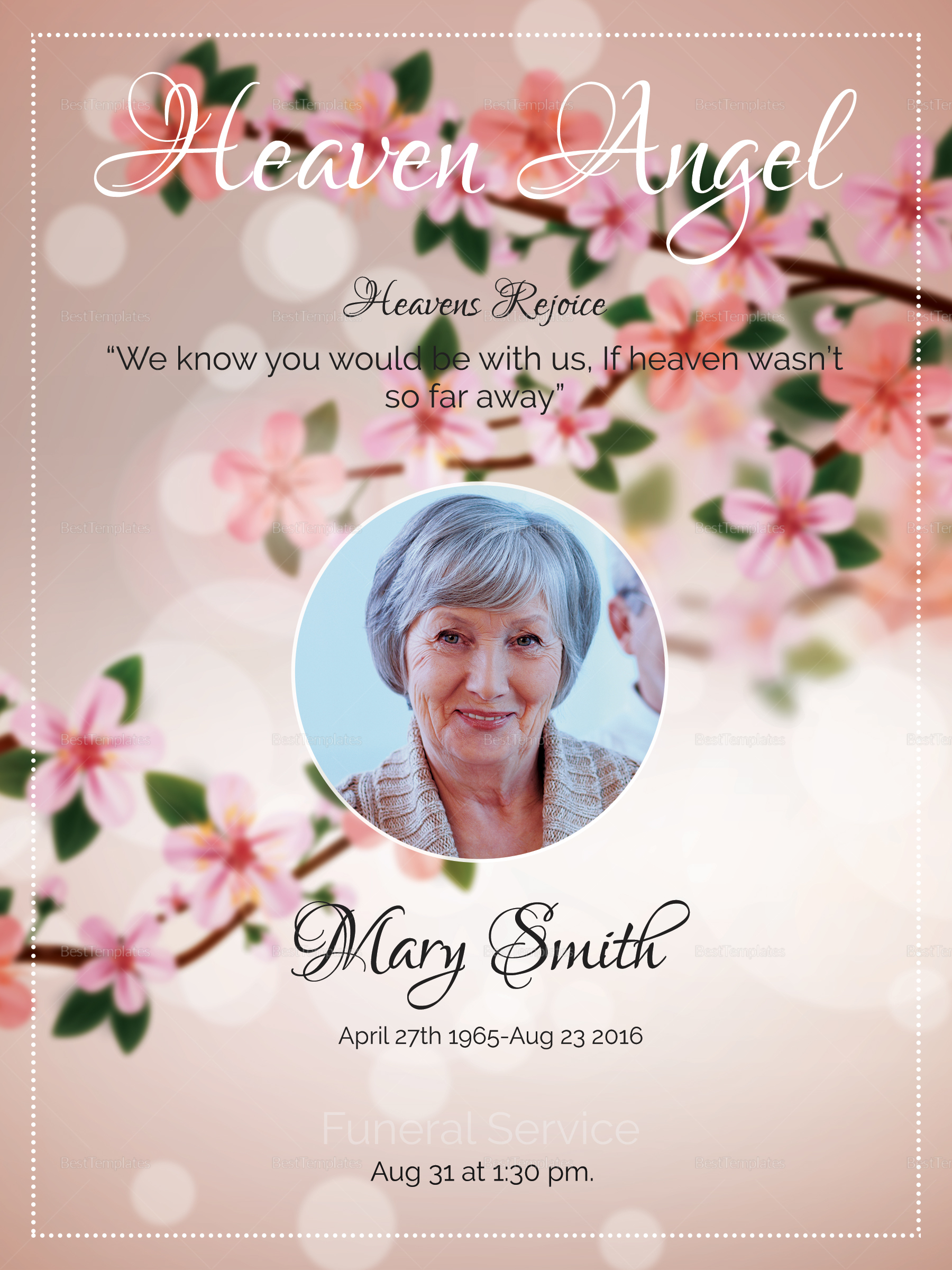 Eulogy Funeral Invitation Design