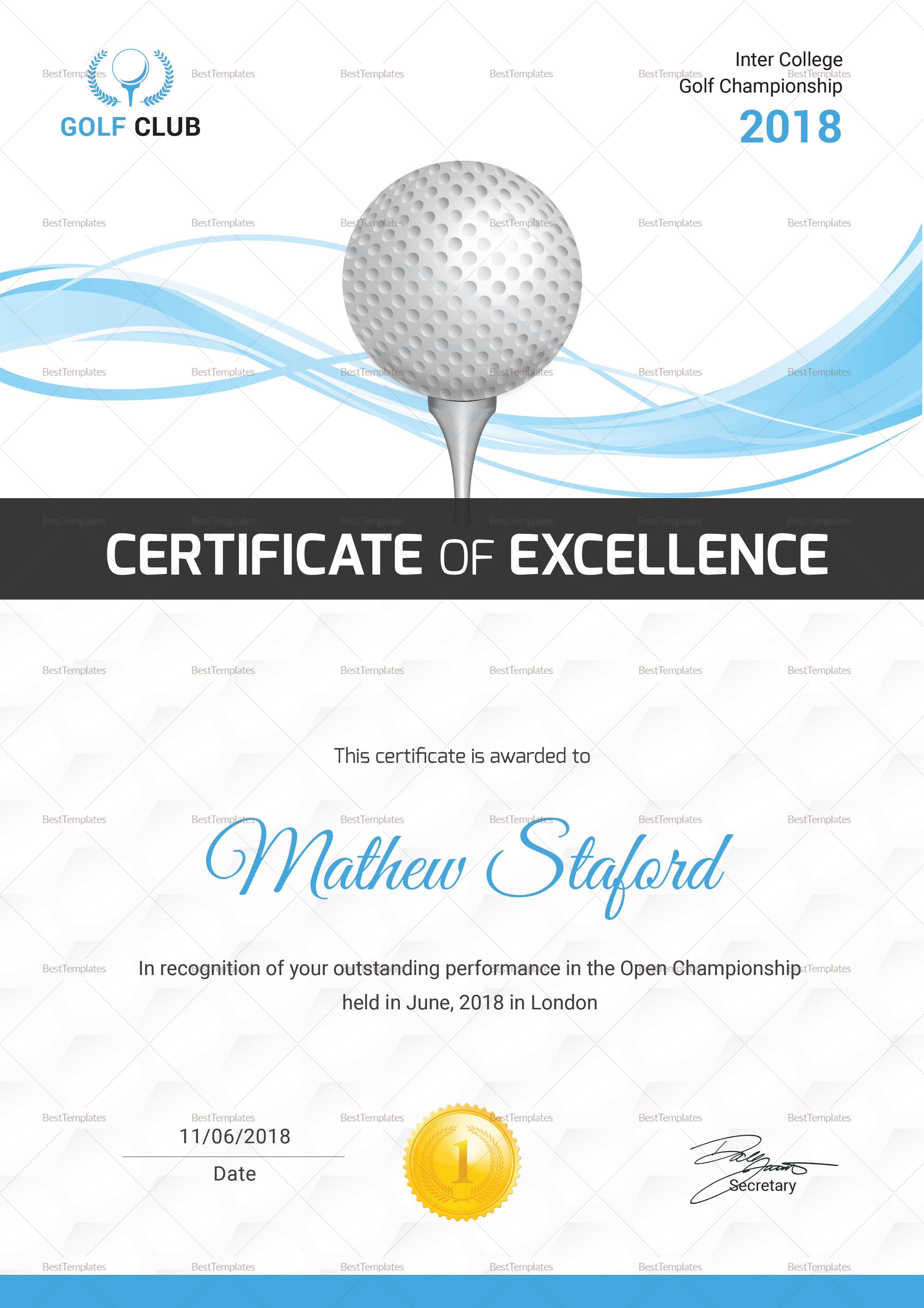 Golf Certificate Template