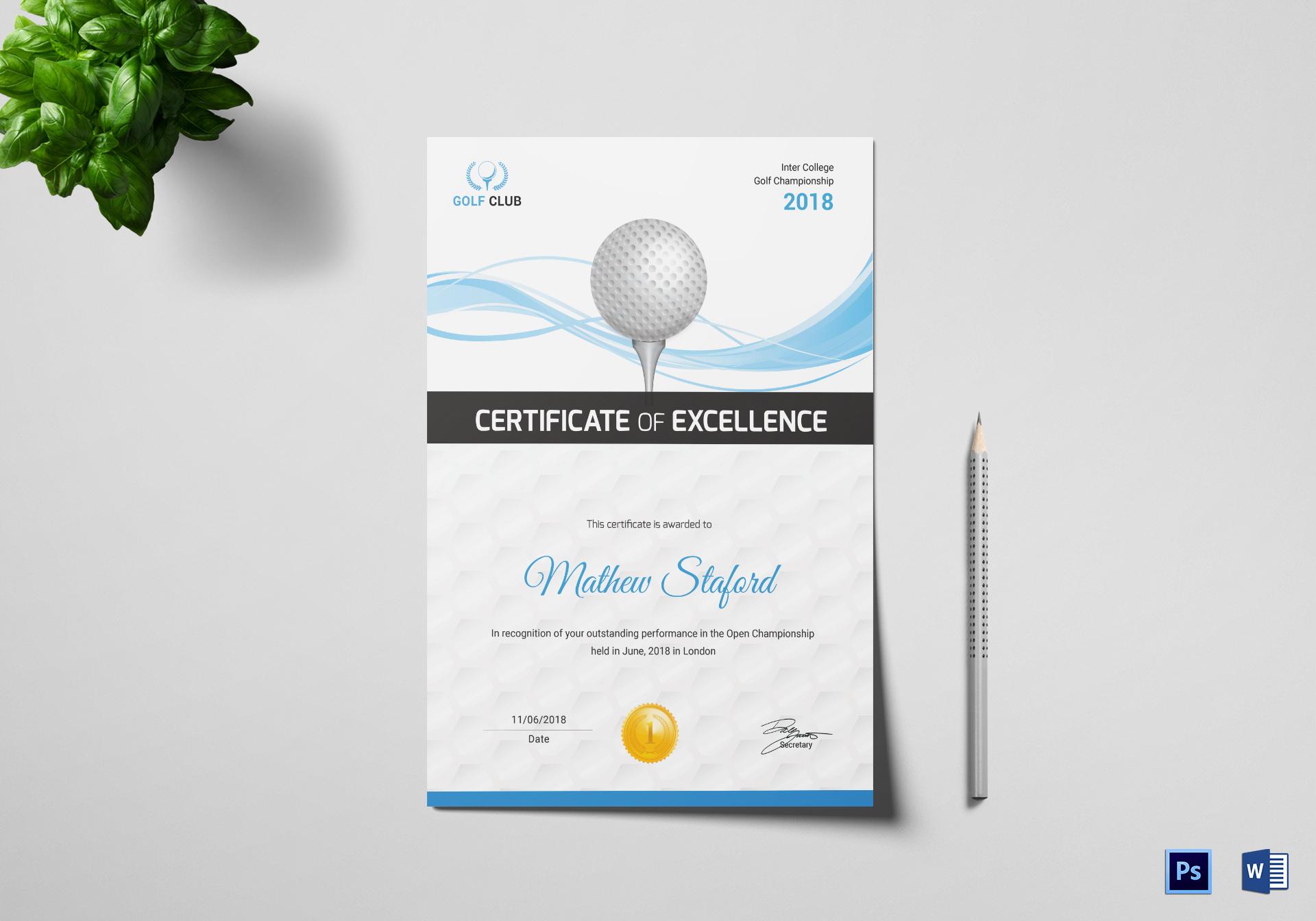 Golf Certificate Design Template In Psd Word