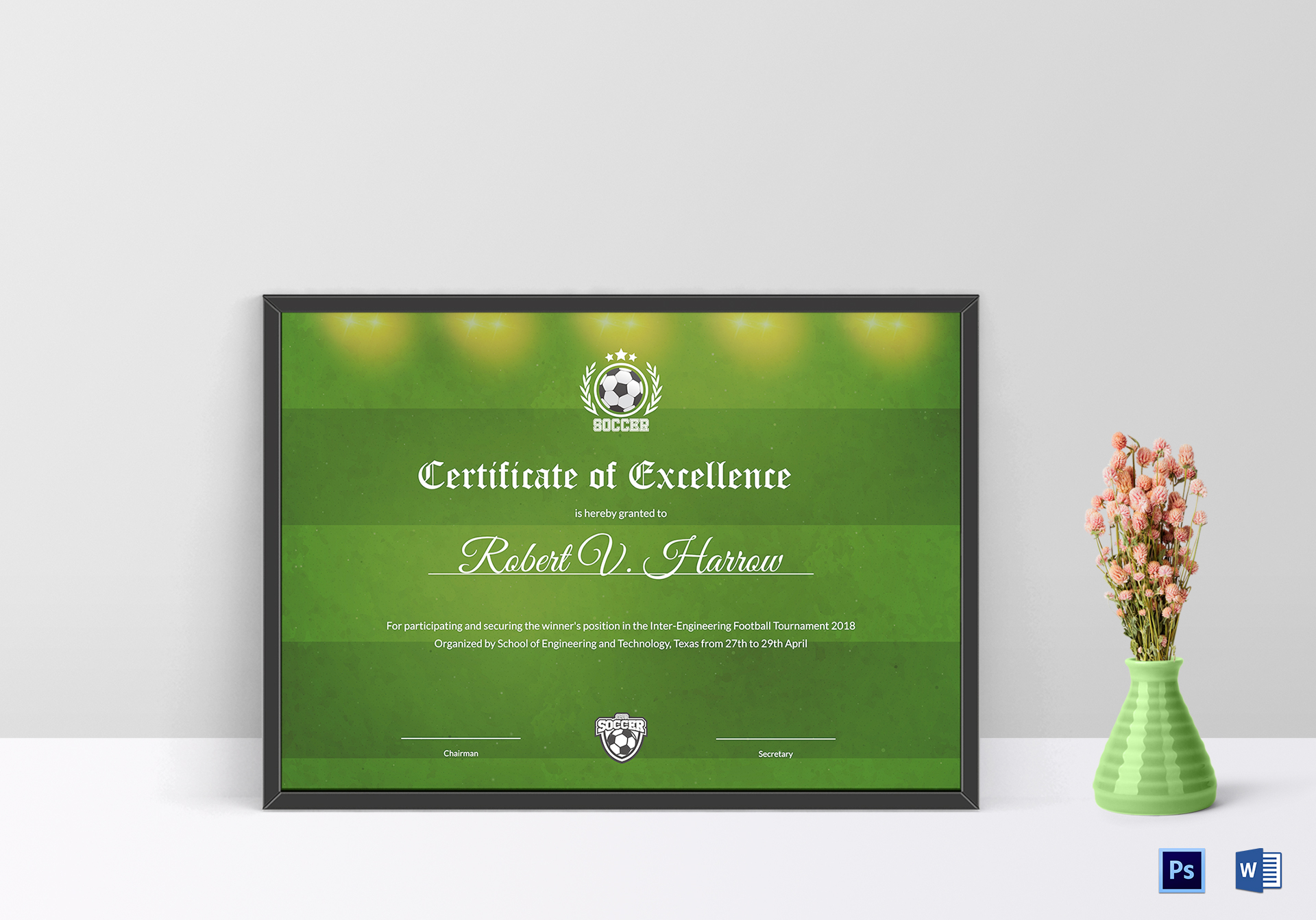 Engineering Football Certificate Design Template In Psd Word