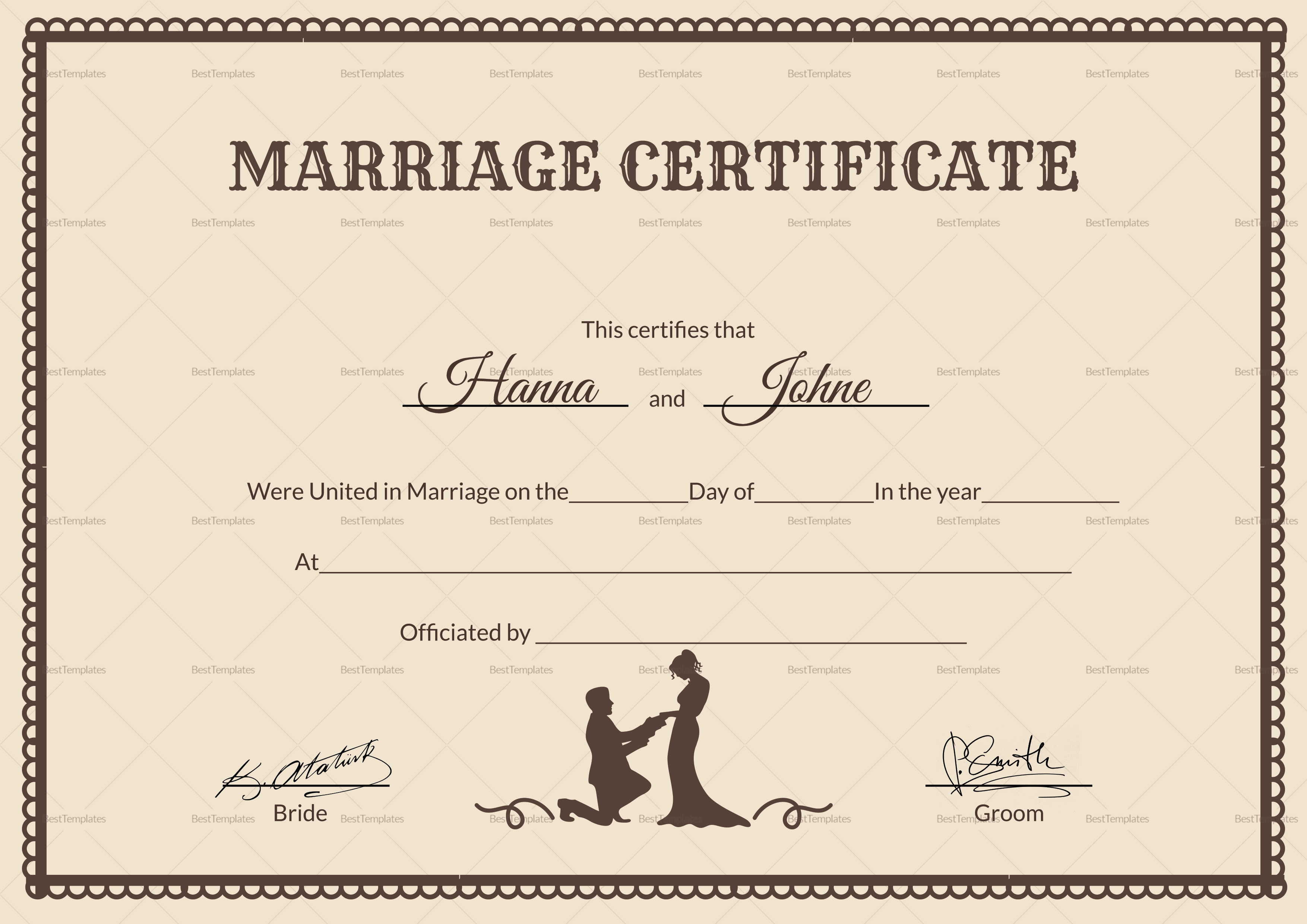 vintage marriage certificate design template in psd word