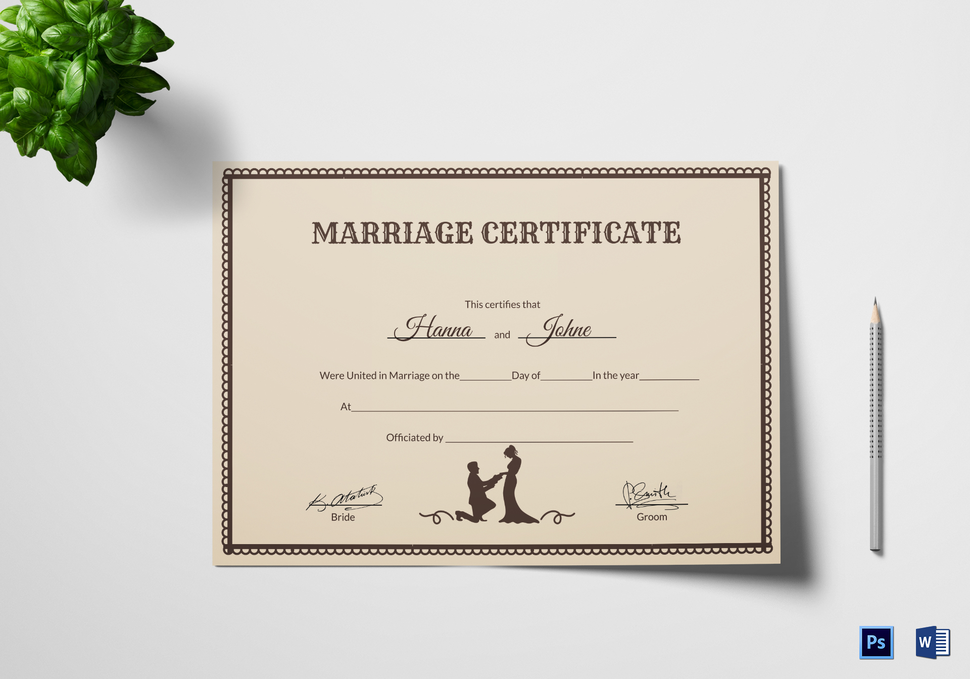 Vintage Marriage Certificate Design Template in PSD, Word