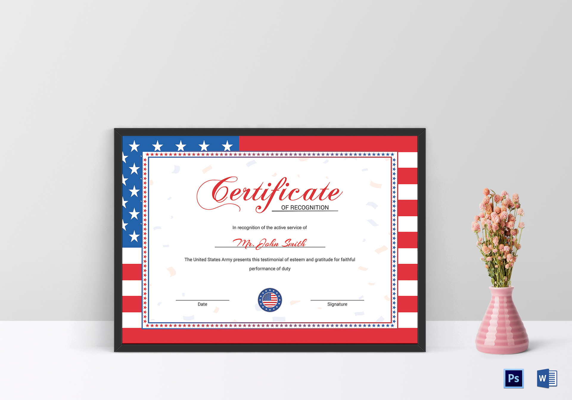 Flag Recognition Certificate Design Template in PSD, Word